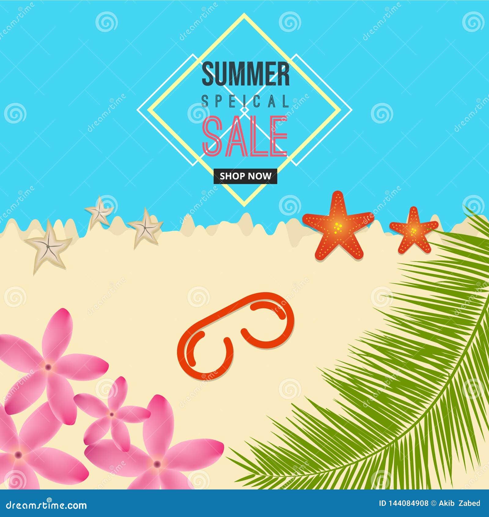 夏天特殊的拍卖海与花,太阳玻璃,海星,椰子元素的海滩背景
