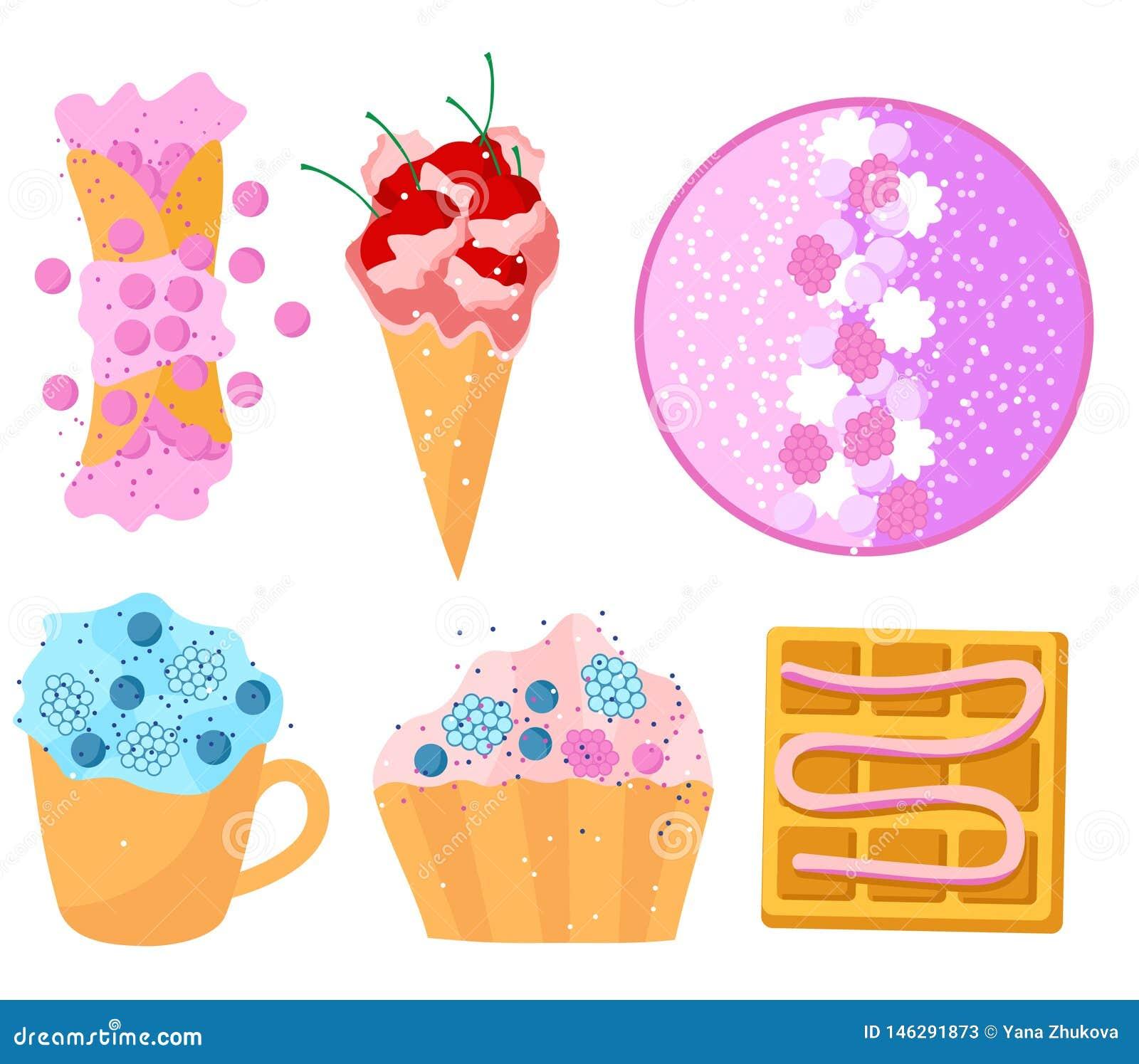 夏天甜点设置了平的设计奶蛋烘饼结块五颜六色奶油色圆滑的人的果子
