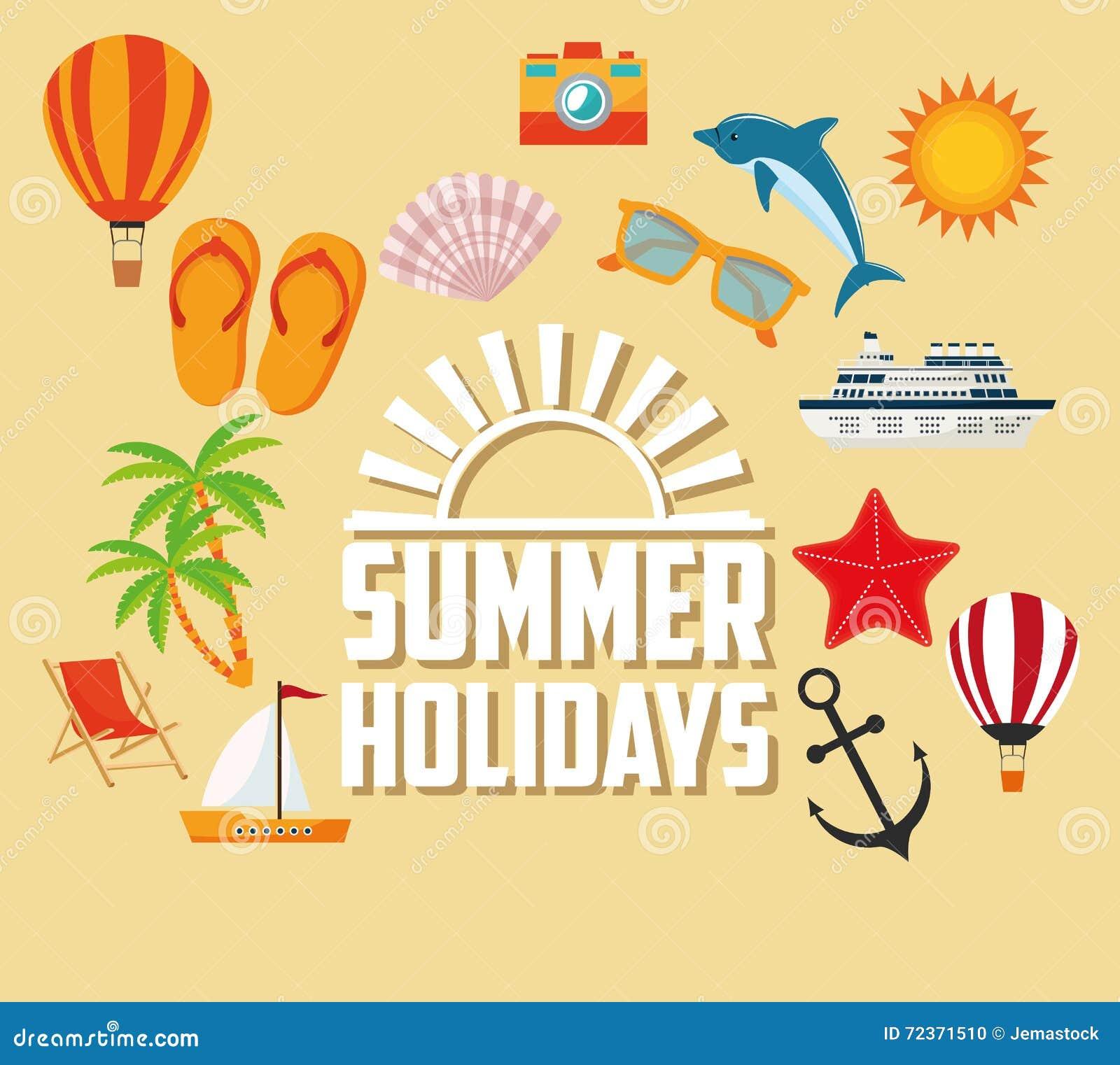 夏天设计 假日象 五颜六色的例证,传染媒介