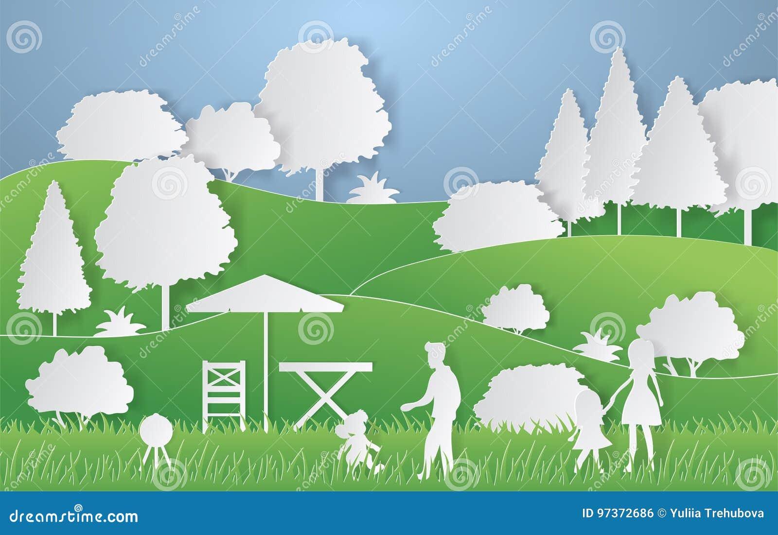 夏天野营的纸裁减样式 与小山,树,野餐的人们的概念 也corel凹道例证向量