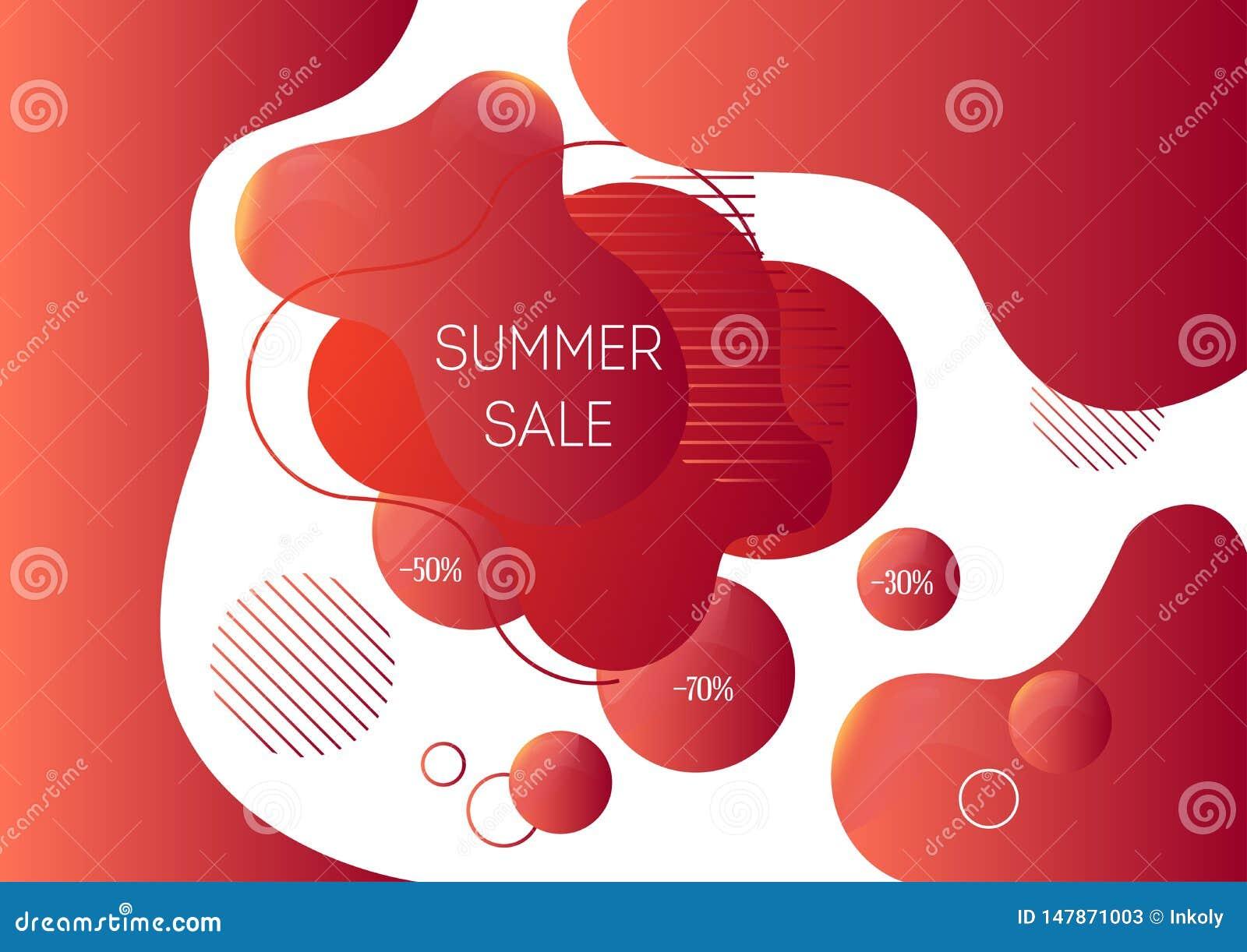 夏天销售广告与时髦抽象液体形状的横幅模板