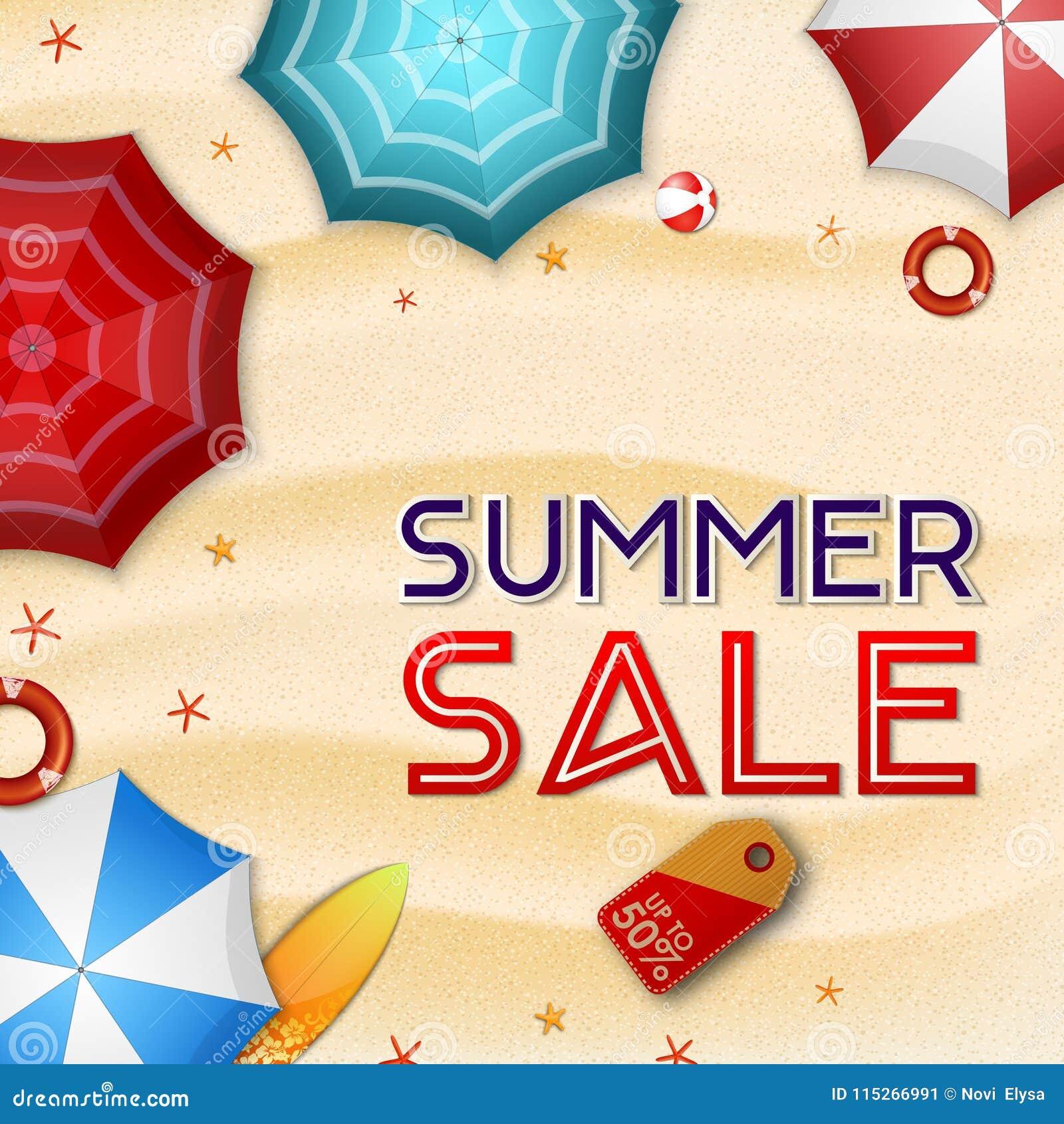 夏天销售背景 许多伞、冲浪板、浮体、海星和海滩球顶视图