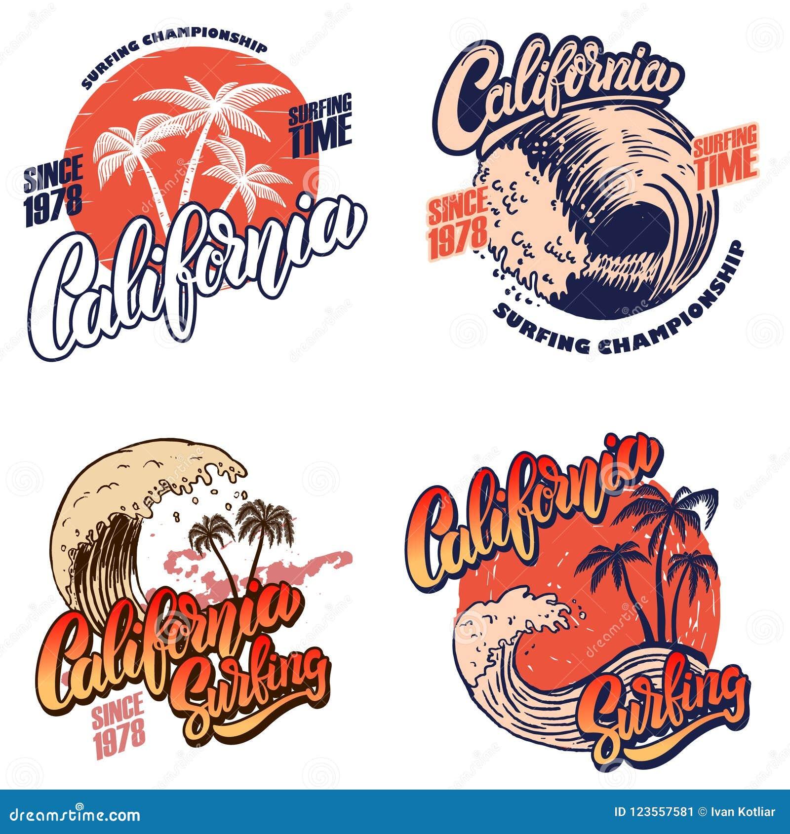 夏威夷冲浪的俱乐部 迈阿密 与字法和棕榈的海报模板