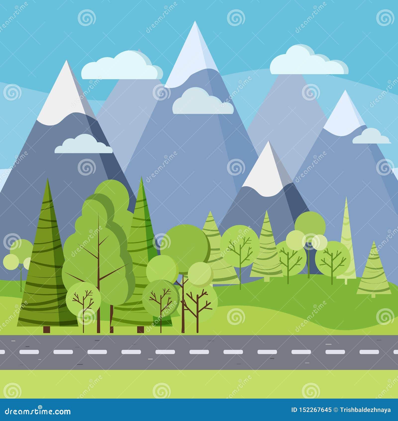 夏日背景:在绿色领域的乡下公路与树和山