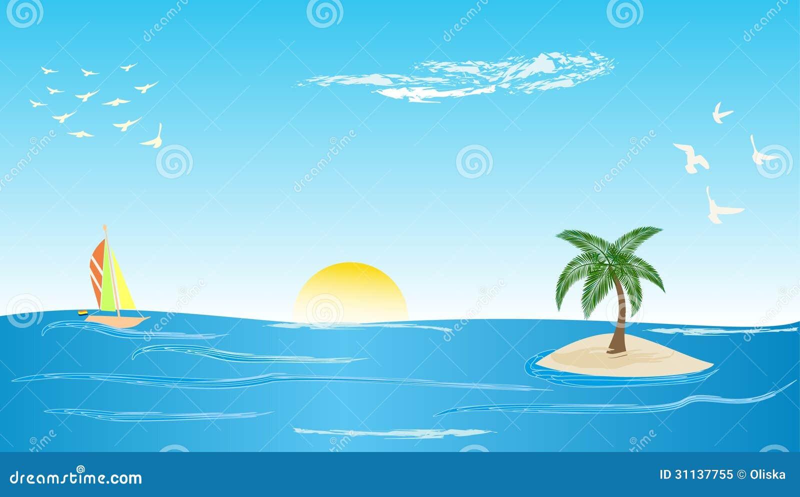 有一棵棕榈树的天空海岛在与函数,海,背景和鸟的热带.太阳v天空窗法fir低滤波器通图片