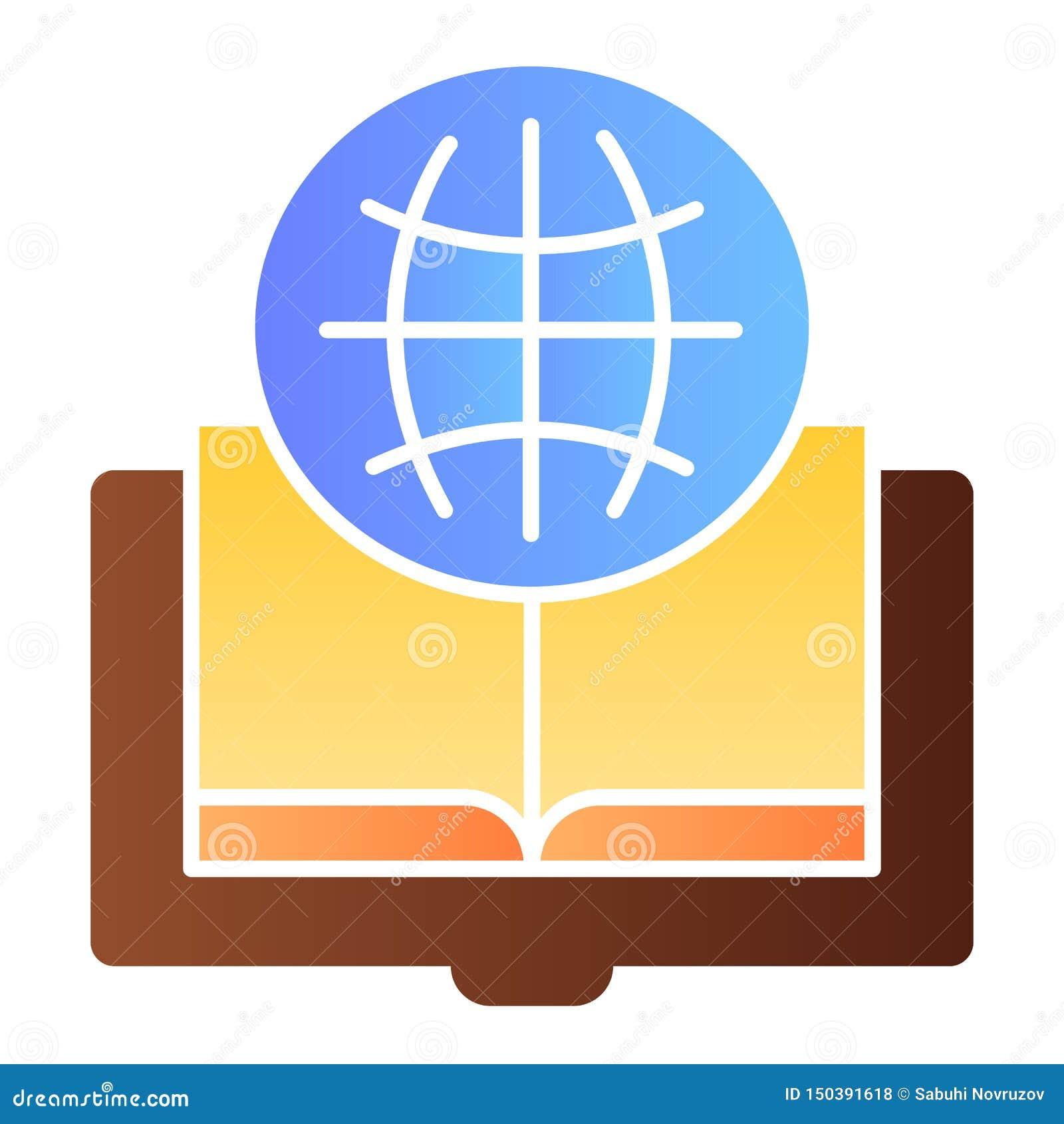 外国语书平的象 地球和书在时髦平的样式的颜色象 被打开的书梯度样式设计