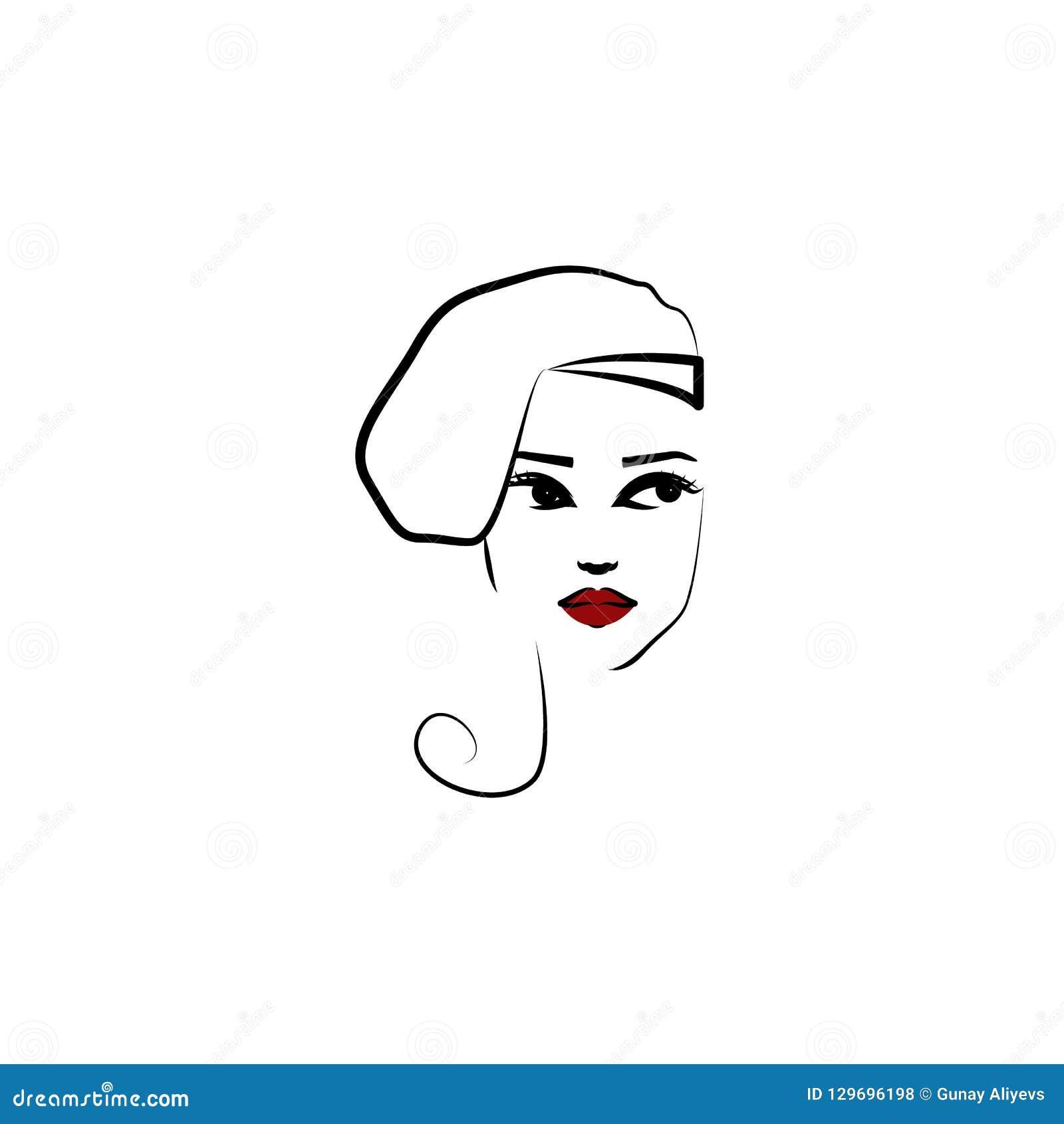 外形帽子,女孩象 美女的元素一个帽子象的流动概念和网应用程序的 稀薄的林外形帽子,女孩象c