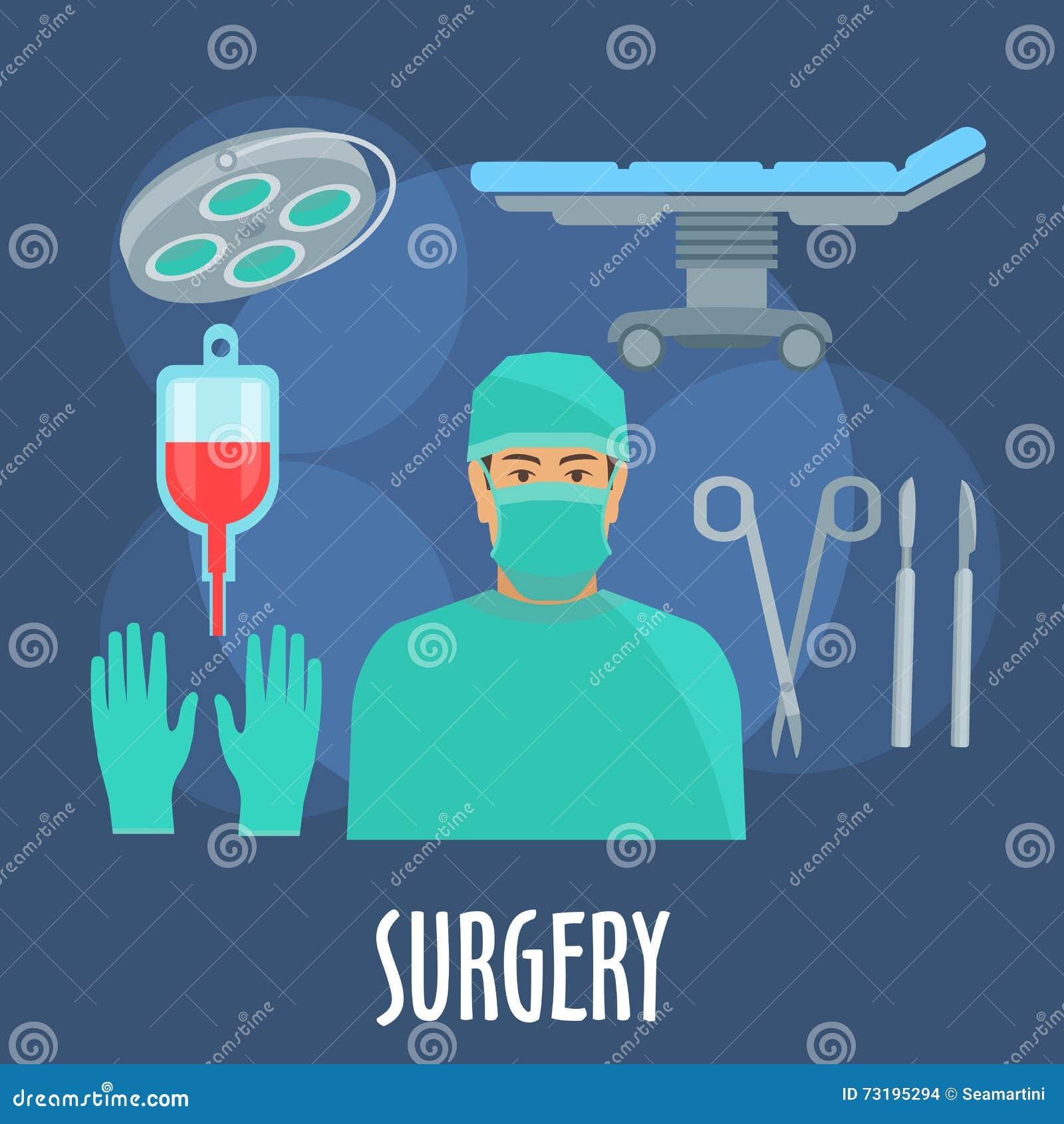 外科医生在有仪器象的手术室