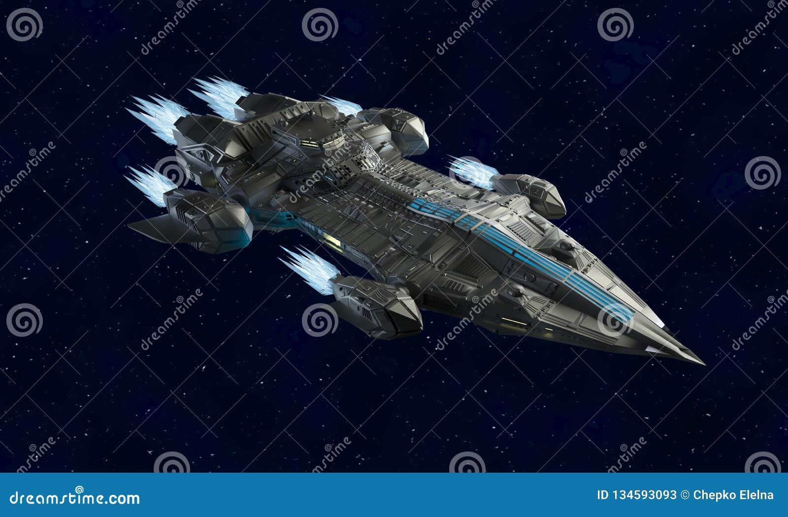 外籍人航天器科幻3d翻译的太空飞船航空器