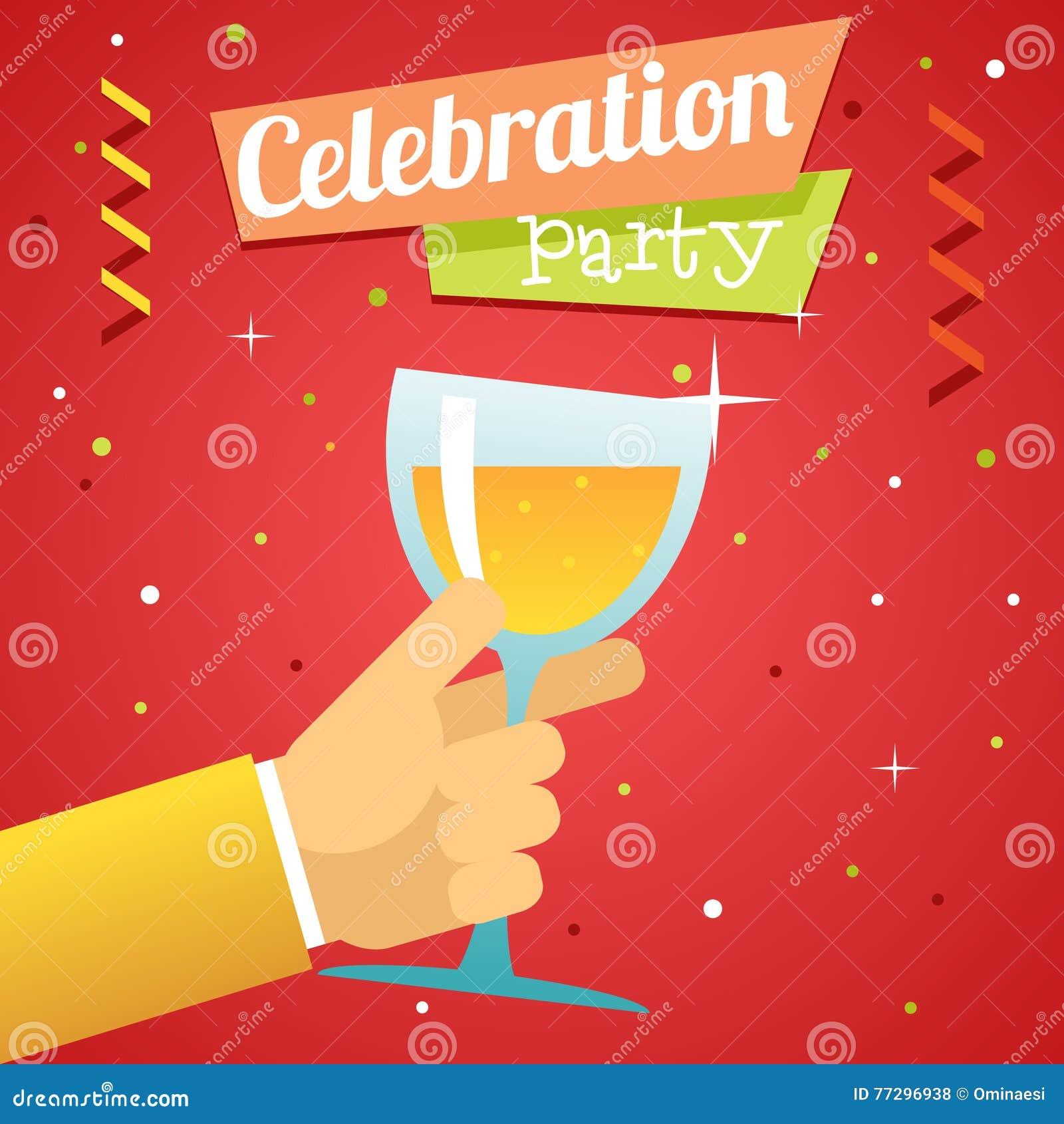 多士承诺庆祝成功繁荣标志手举行玻璃饮料象平的设计模板传染媒介例证