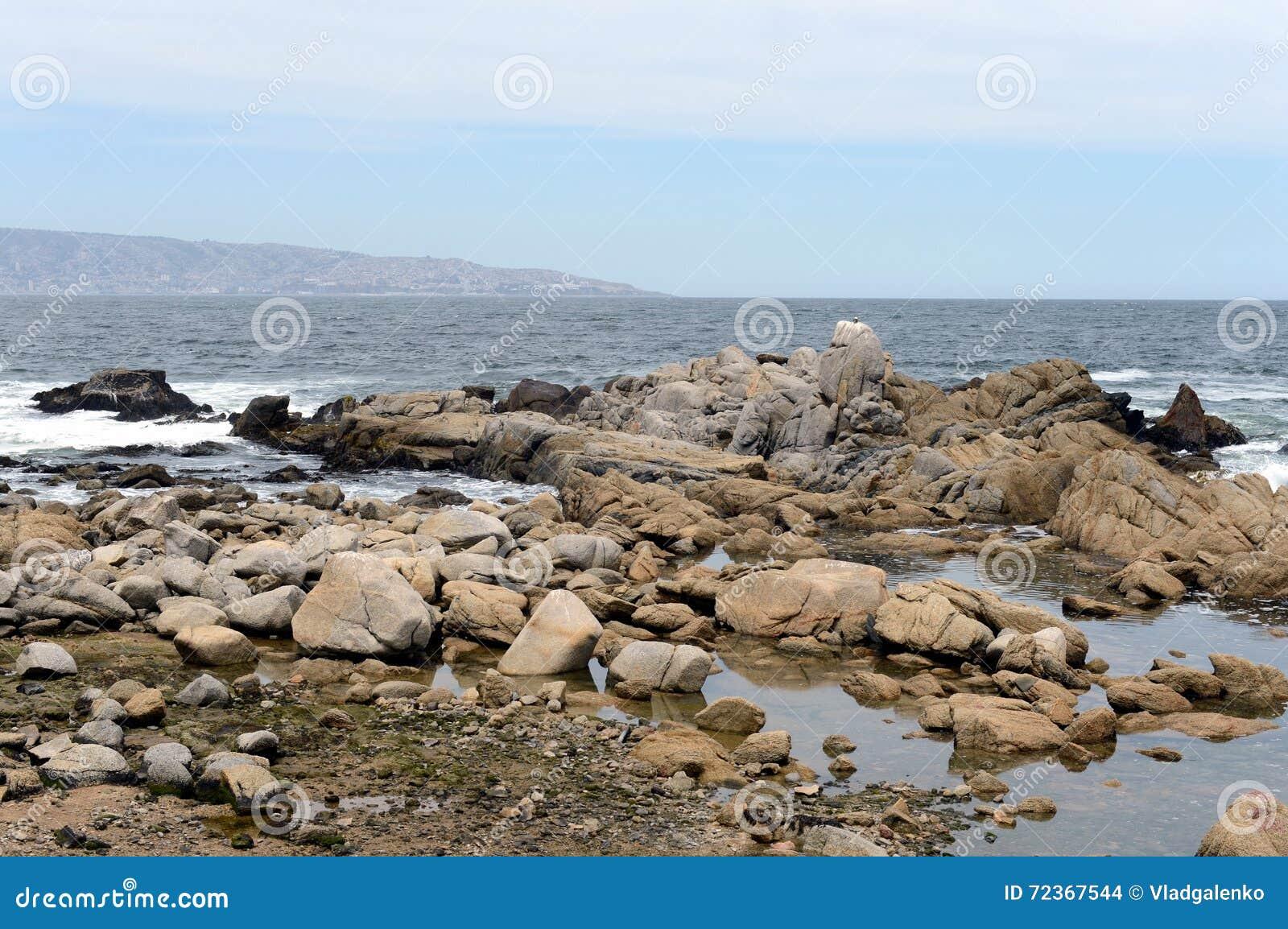 多岩石的海滩在比尼亚德尔马