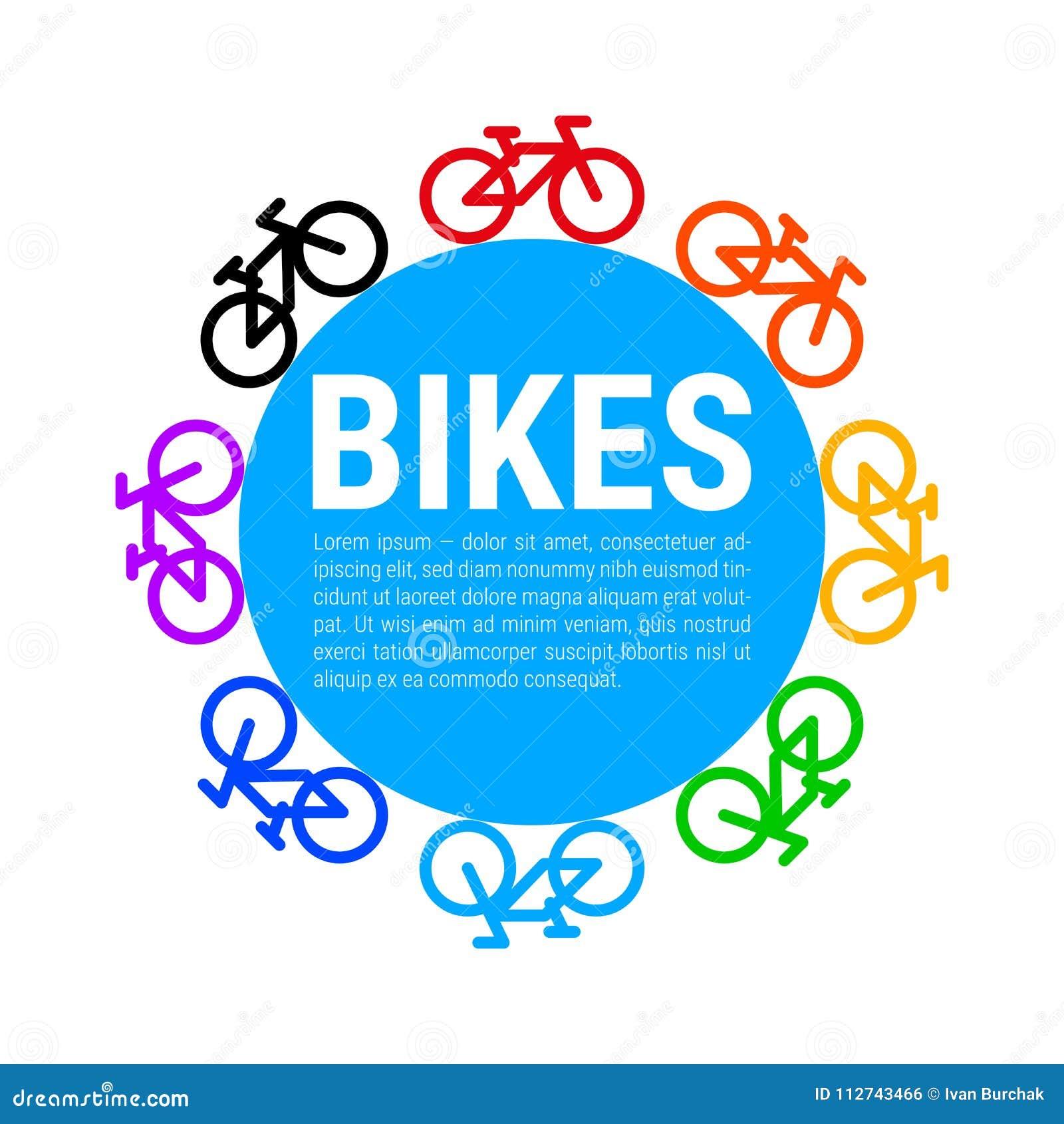 多彩多姿的自行车象和蓝色圈子背景 也corel凹道例证向量