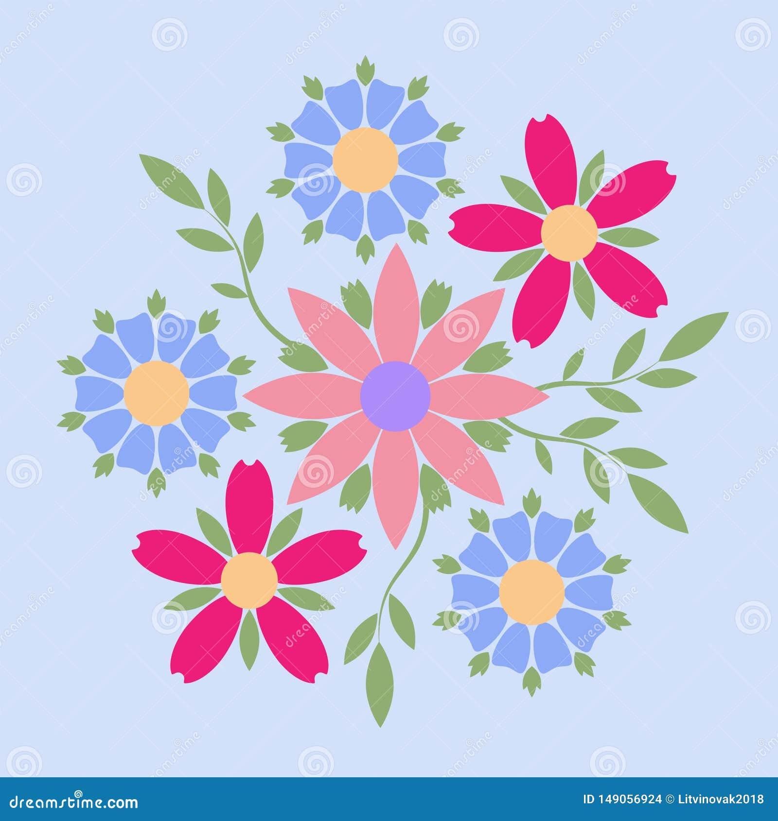 多彩多姿的花自由构成装饰象征  精品店的、有机化妆用品或者花店的企业身分