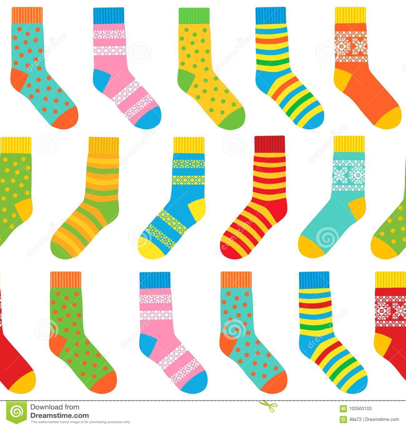 多彩多姿的袜子无缝的背景与样式和条纹的