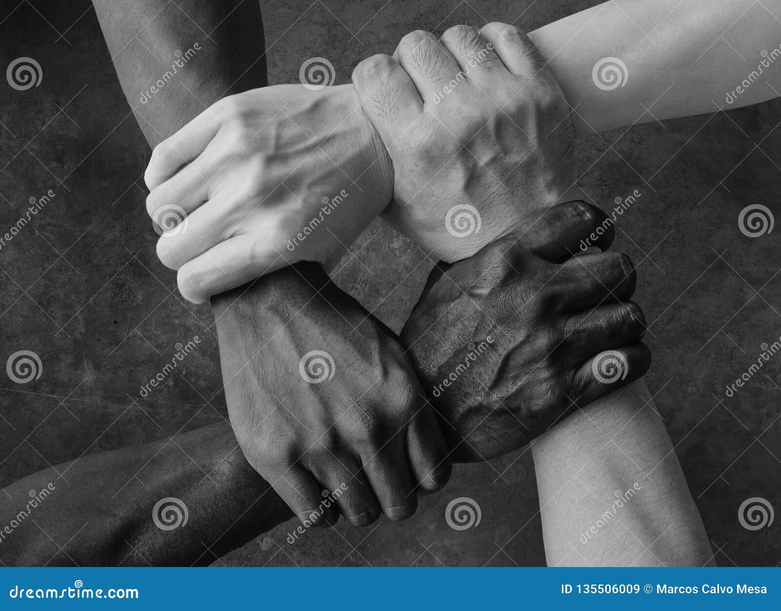 多种族小组用举行的黑非裔美国人的白种人和亚洲手在容忍团结爱的腕子和反