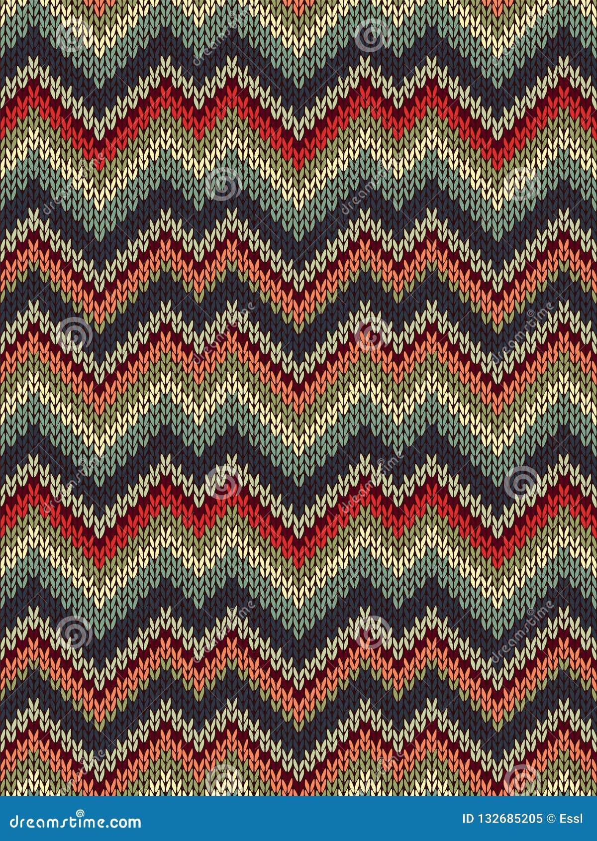 多色无缝的编织样式 之字形刺绣纹理