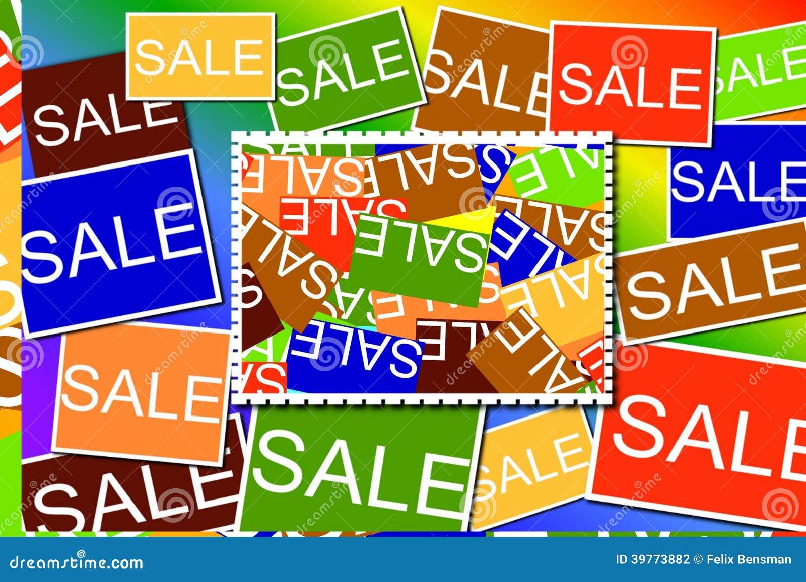 多色的销售标志