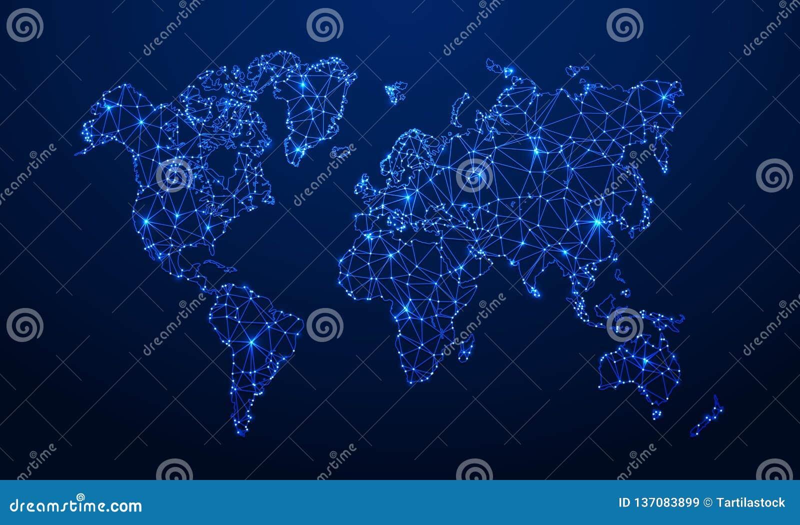 多角形地图 数字地球地图,蓝色多角形接地地图和世界互联网连接3d栅格传染媒介概念