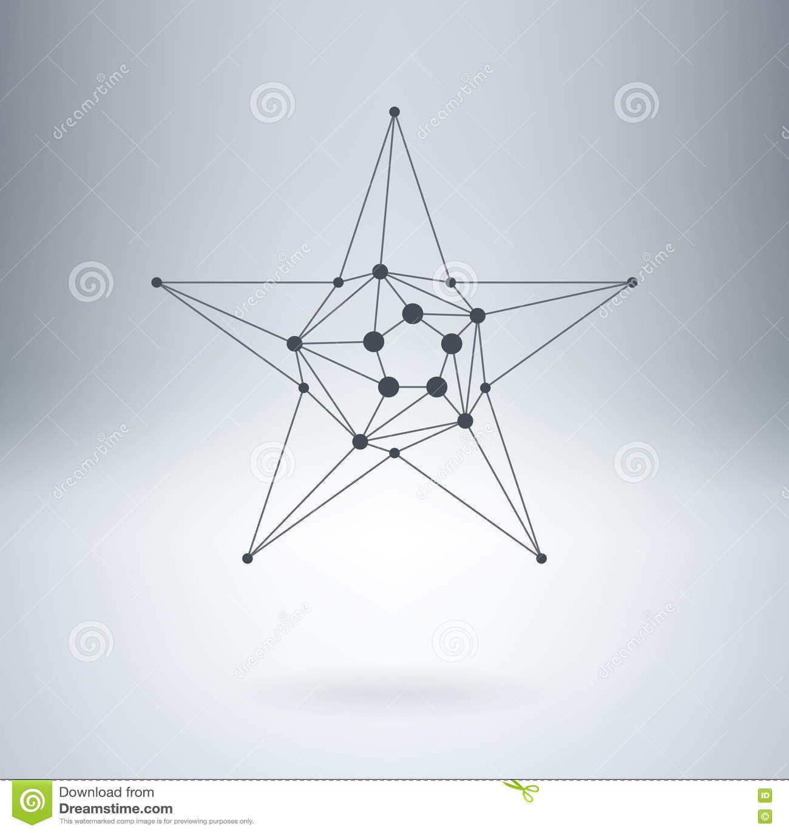 多角形星,与小点的现代时髦的lowpoly商标 设计el
