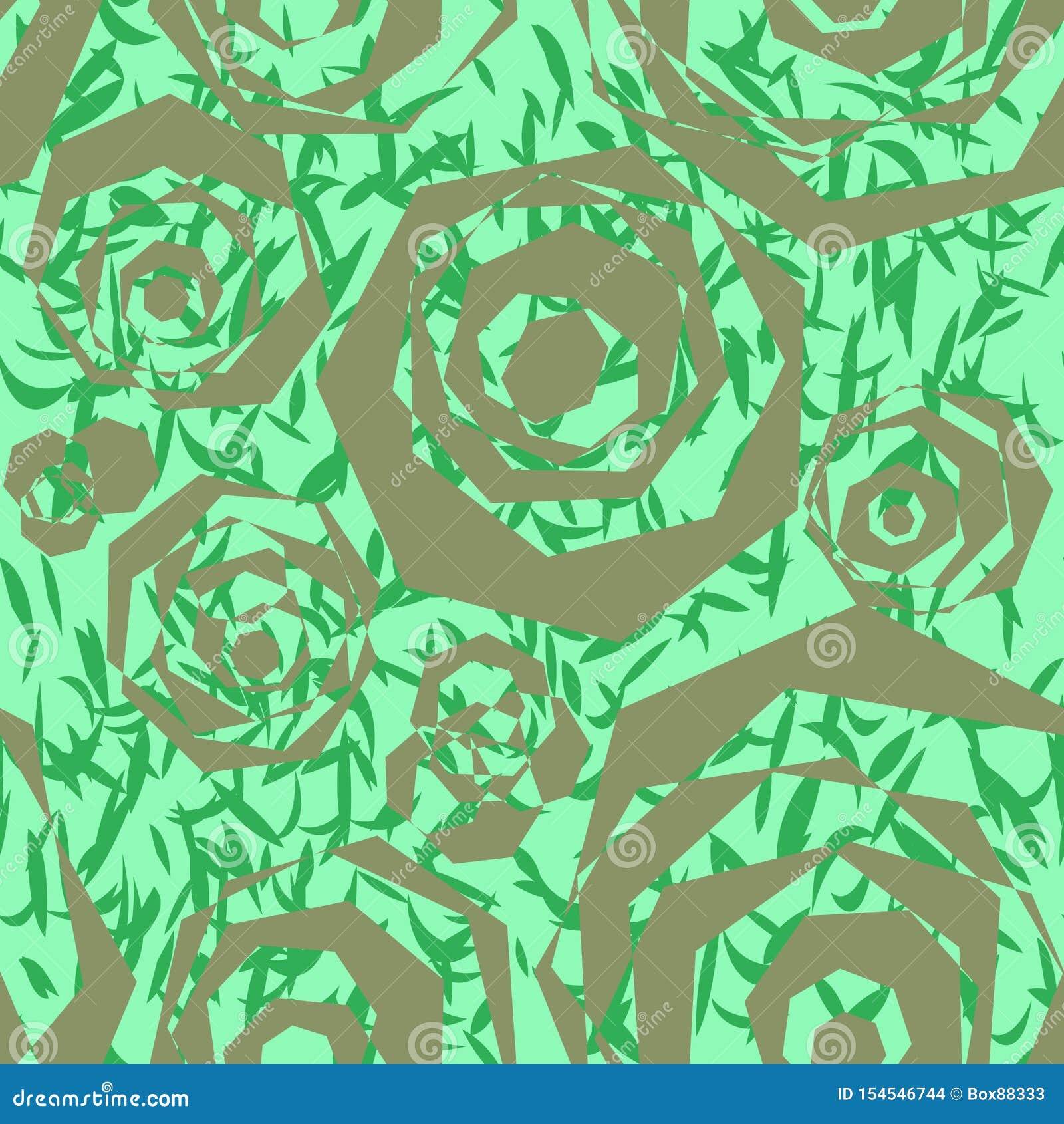 多角形银色元素的无缝抽象样式,相似与风格化玫瑰和绿色叶子