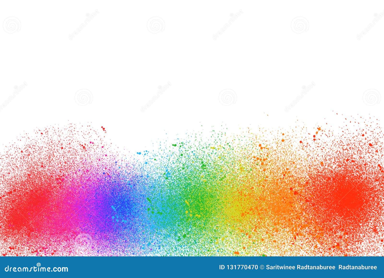 多颜色油漆是在白色背景的一条彩虹
