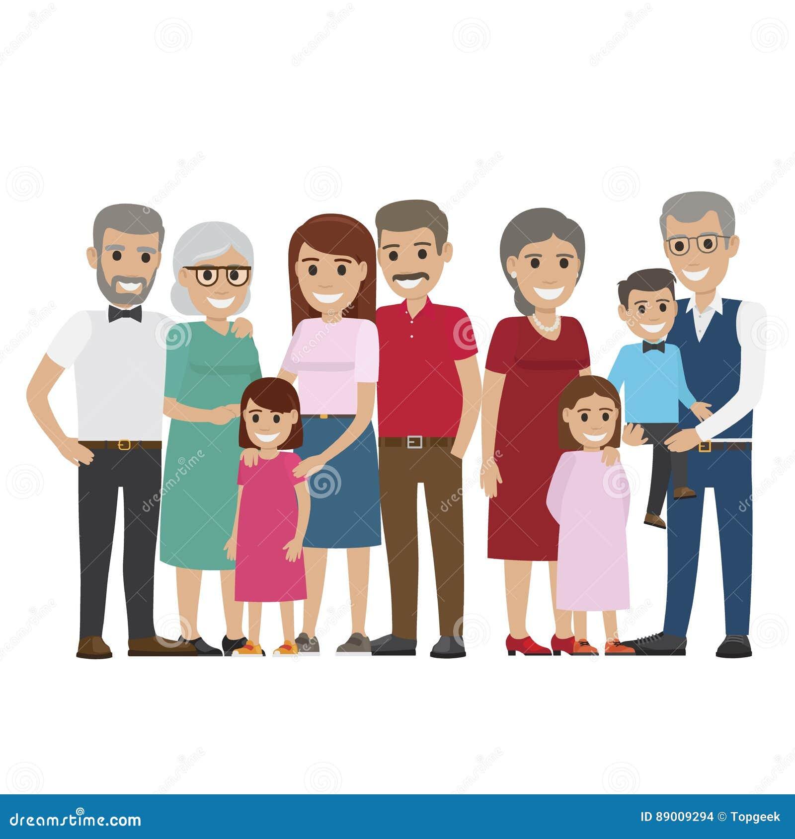 多代的在白色的家庭五颜六色的照片