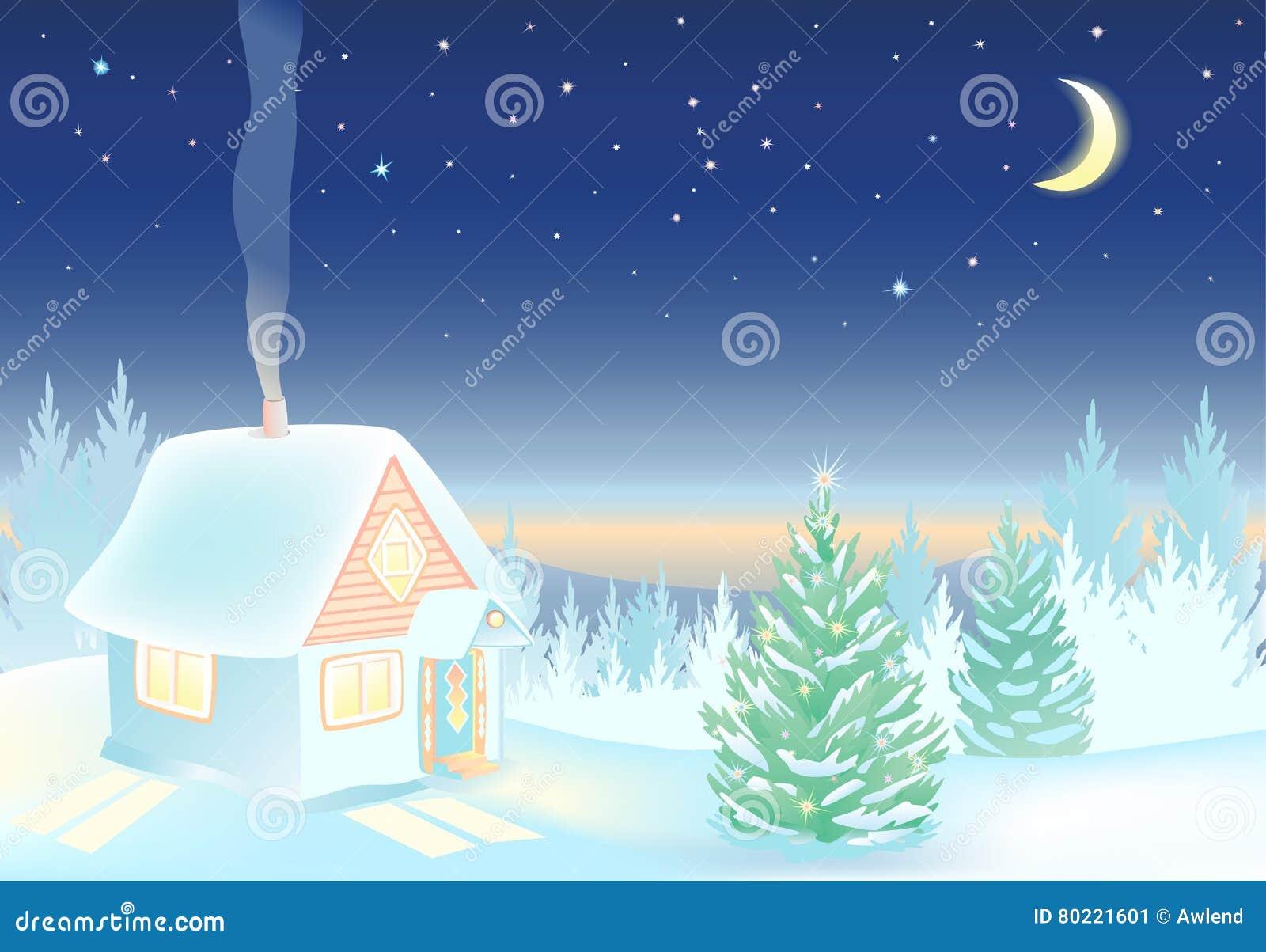 夜与房子和森林的冬天风景