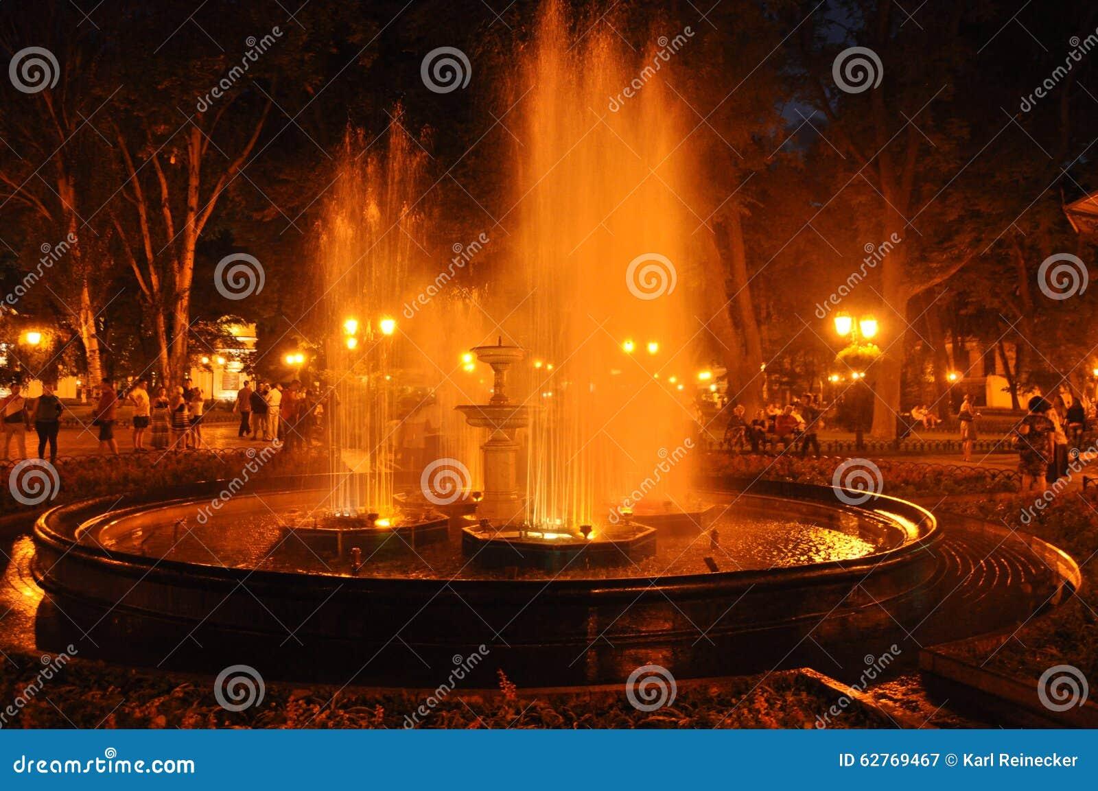 夜喷泉在傲德萨,乌克兰