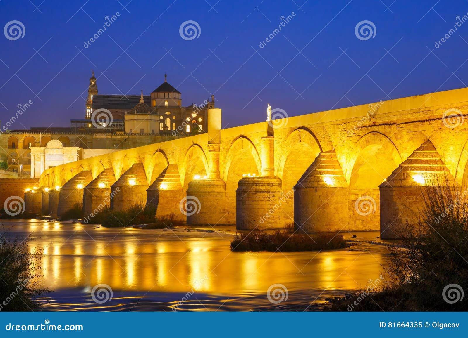 夜梅斯基塔和罗马桥梁在科多巴,西班牙