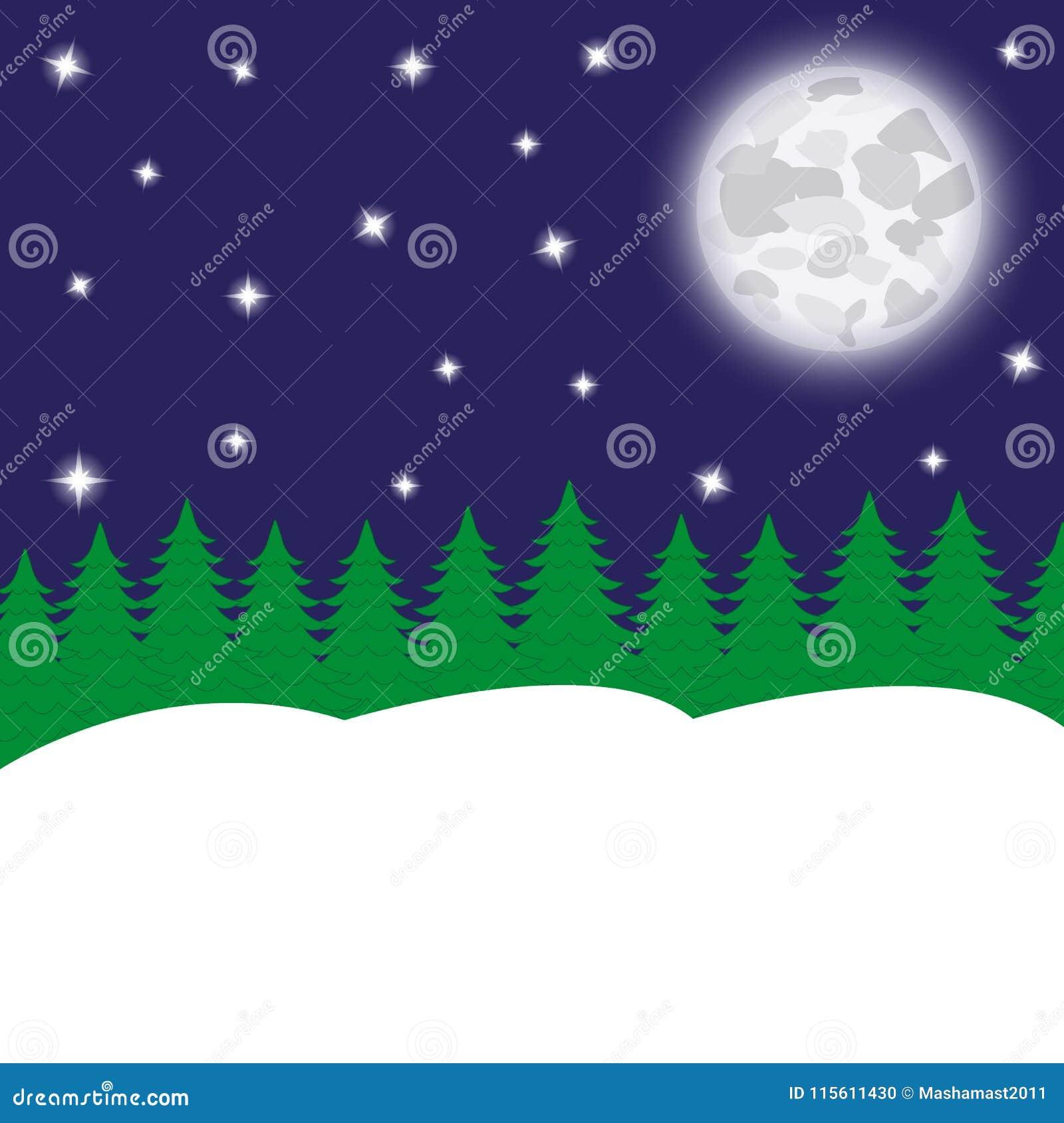 夜神仙的森林和月亮