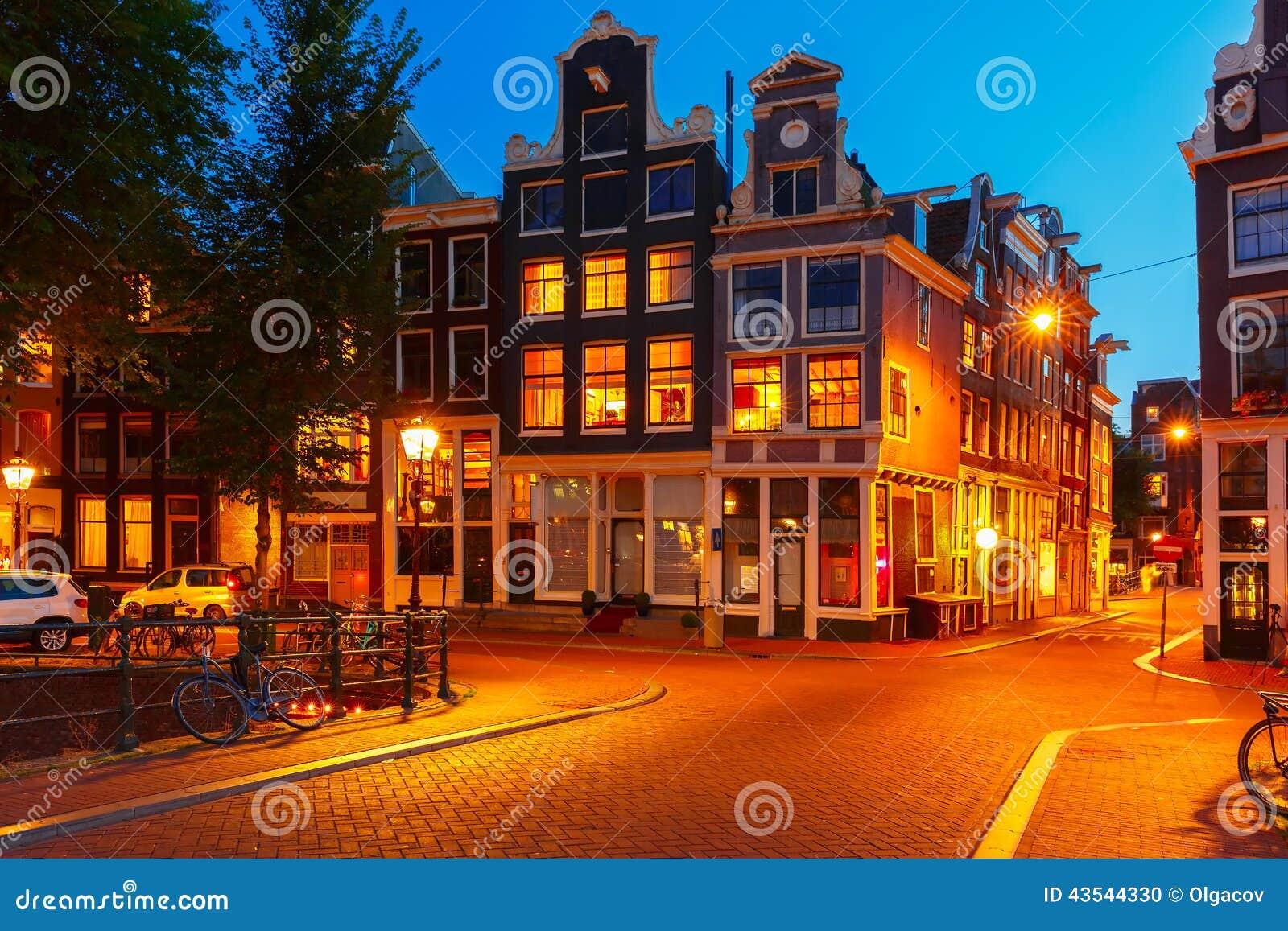 夜阿姆斯特丹房子城市视图