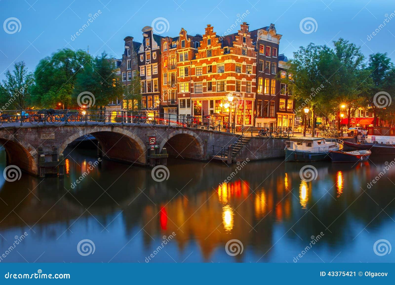 夜阿姆斯特丹运河和桥梁城市视图