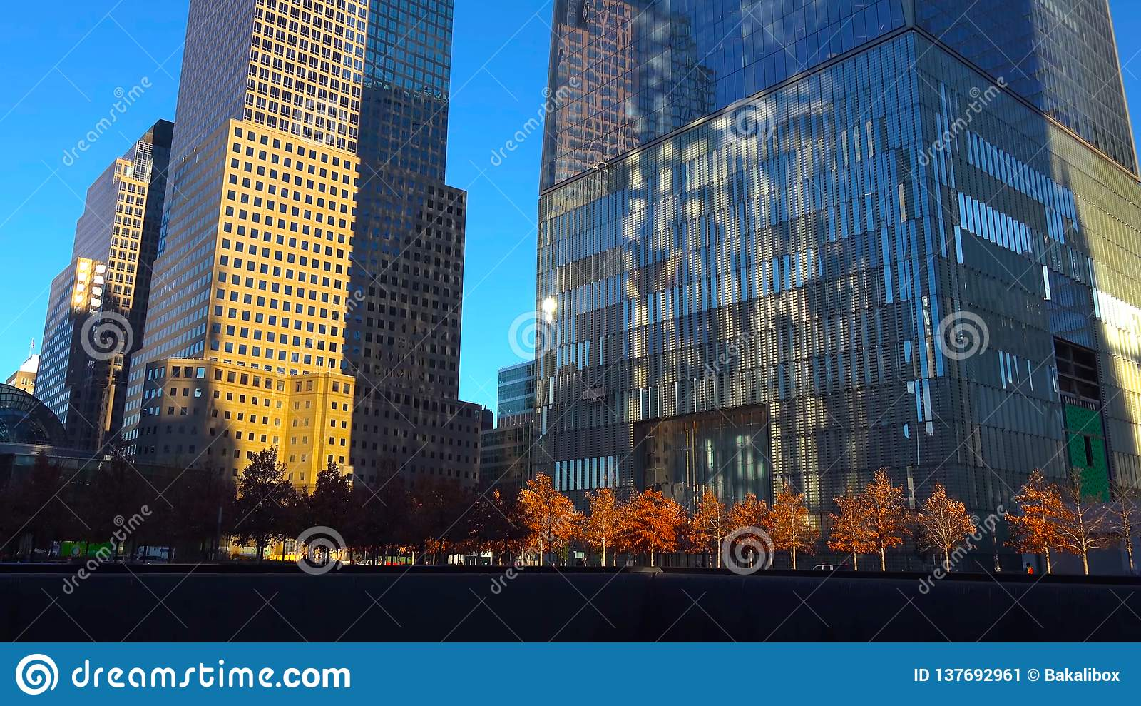 夜/New约克市的摩天大楼-美国 看法向曼哈顿下城2018年12月18日