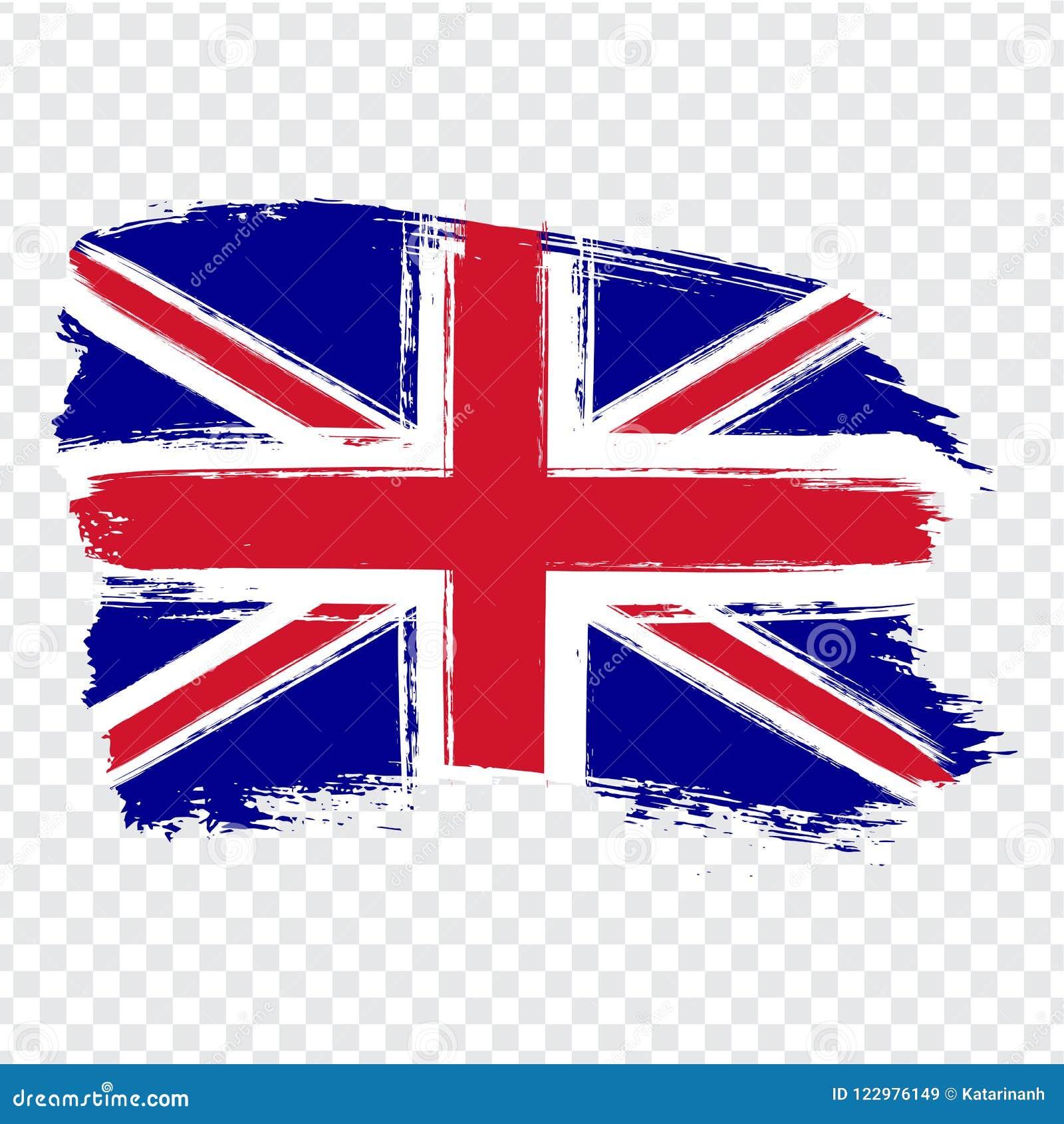 大不列颠及北爱尔兰联合王国,刷子冲程背景的旗子 在透明backgro的旗子大英国