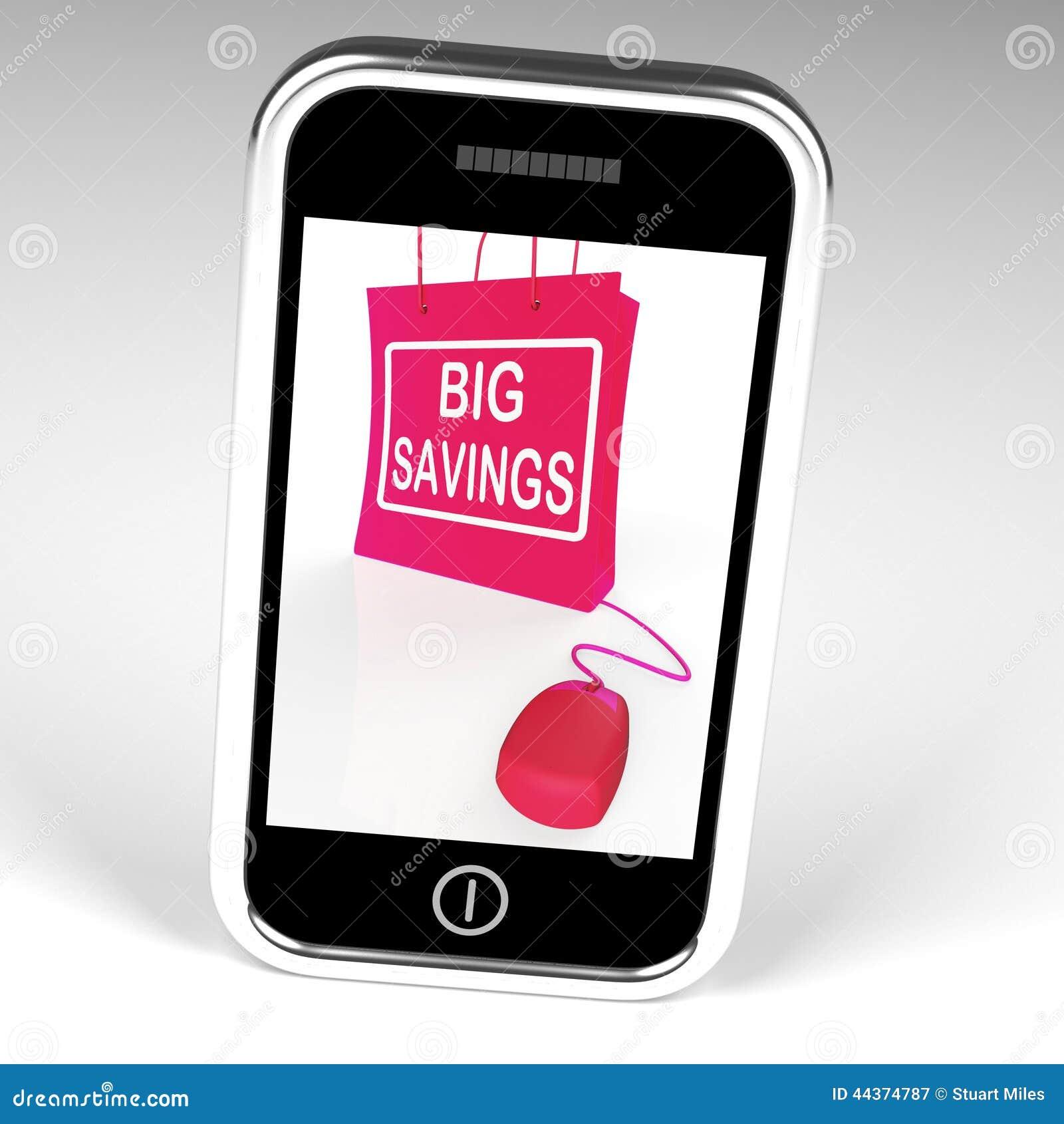 大储款袋子显示网上销售和折扣