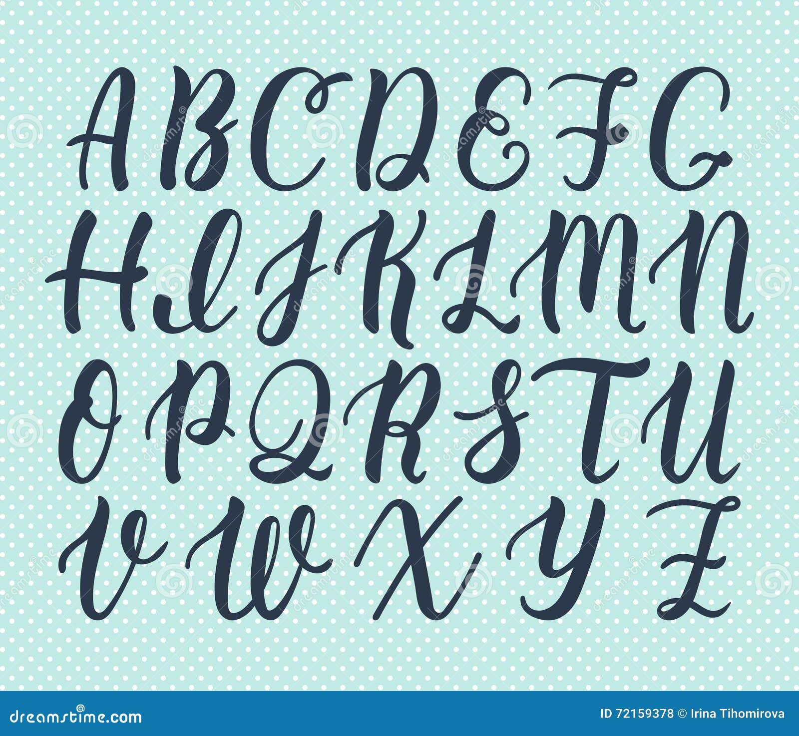 大写字母手拉的拉丁书法刷子剧本  书法字母表 向量