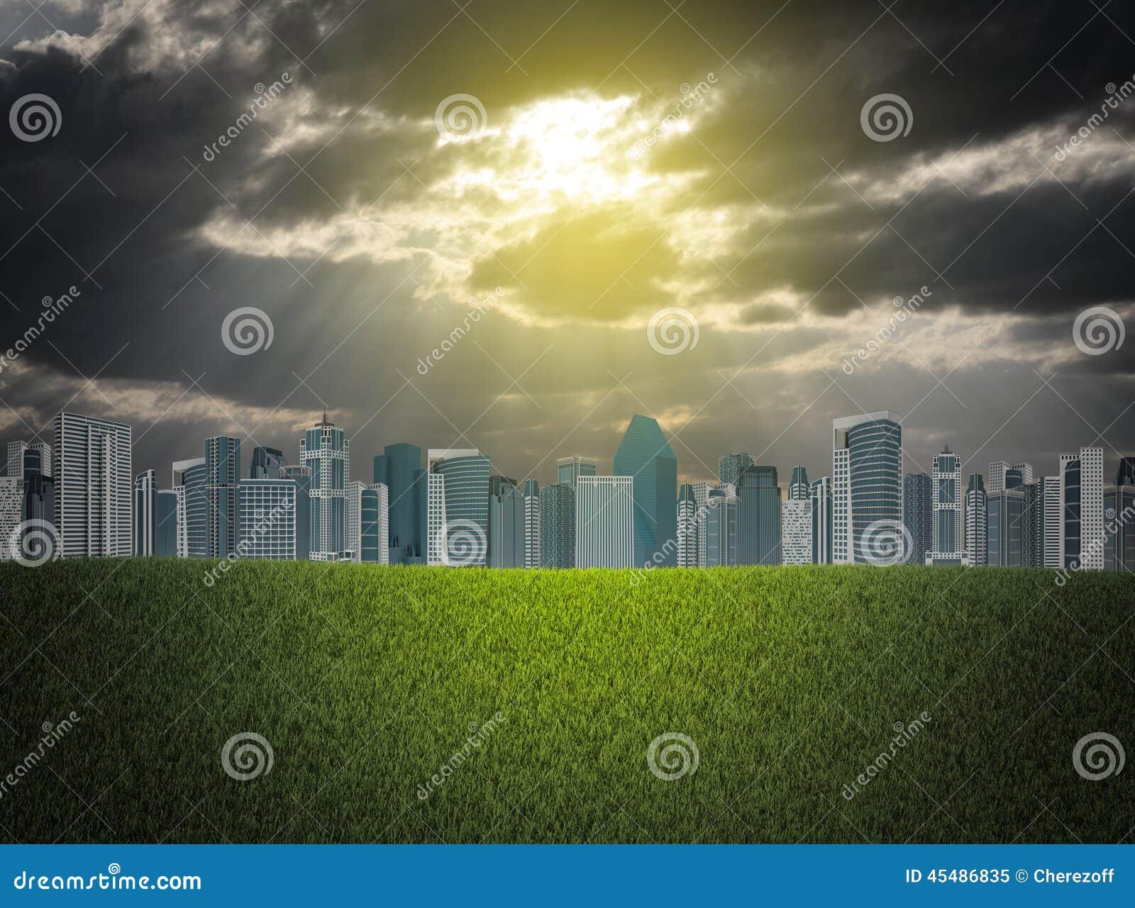 大厦和绿草领域