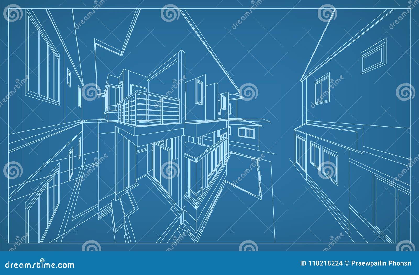 大厦wireframe结构抽象3D翻译  向量