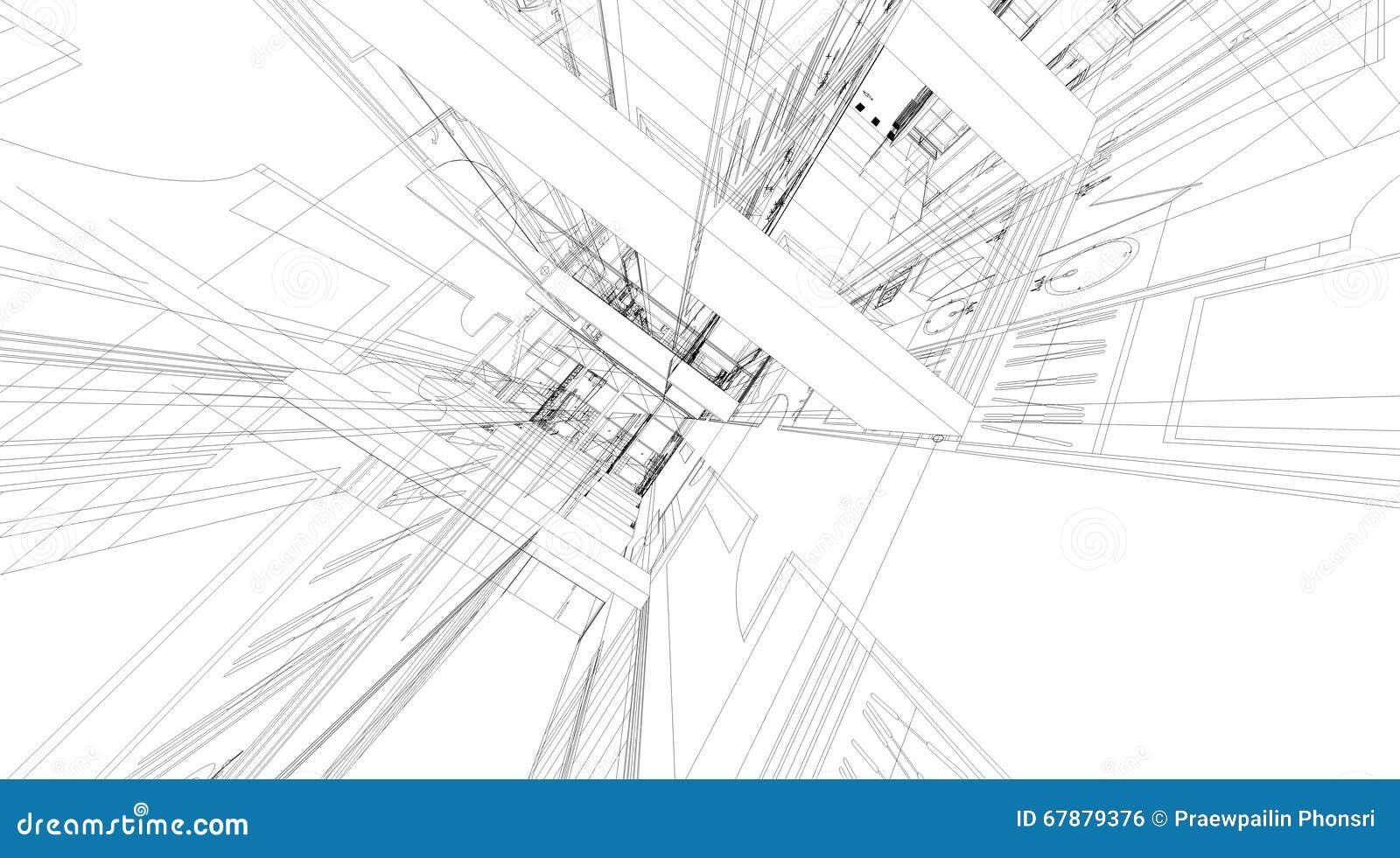 大厦wireframe结构抽象3D翻译