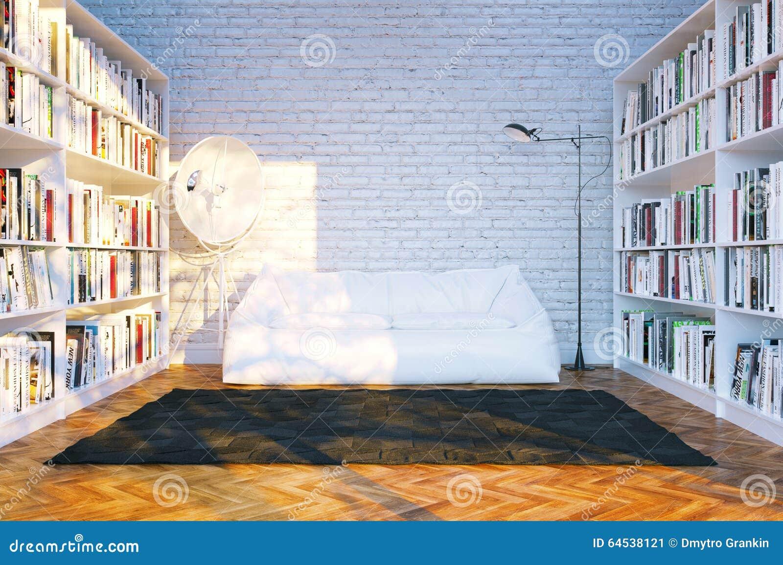 大图书馆搁置与许多书在白色客厅