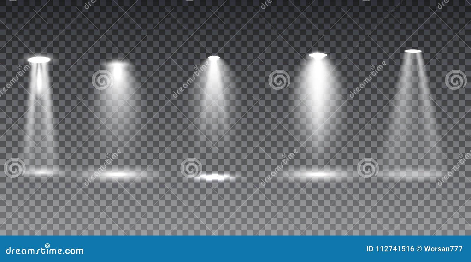 大在透明背景的收藏现实白色场面照明
