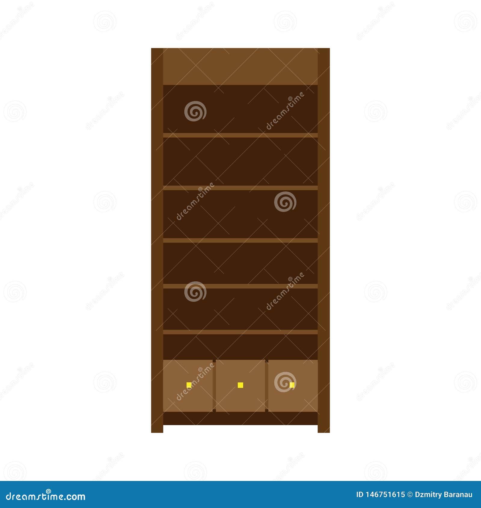 大型衣橱传染媒介llustration机架架子家具象 葡萄酒典雅的老碗柜内阁壁橱 木衣橱设计
