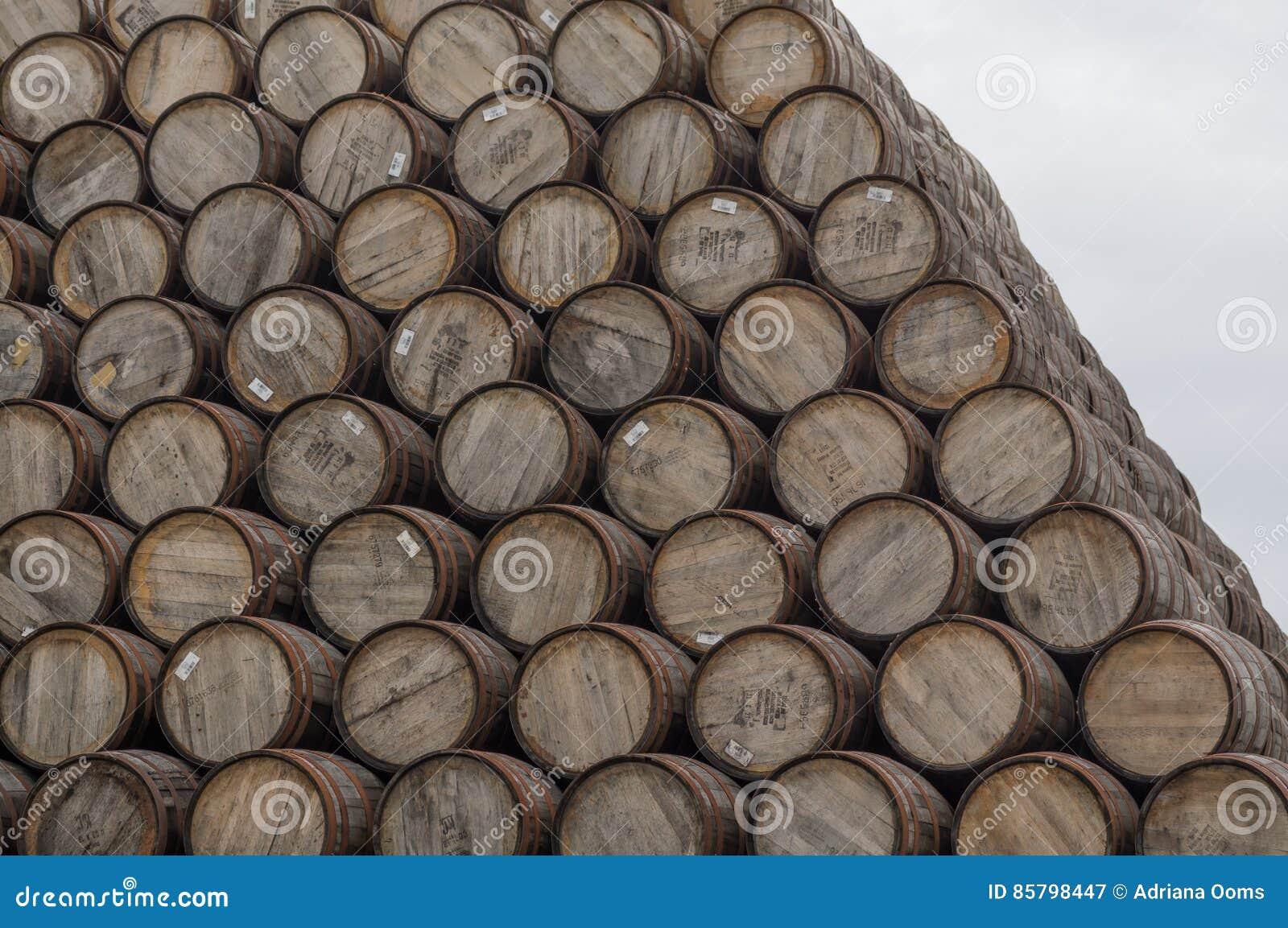 大堆威士忌酒桶