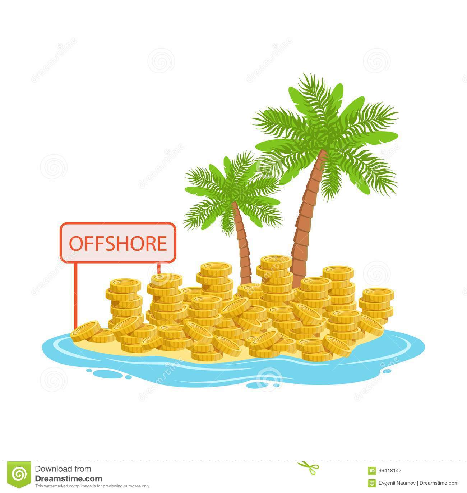 大堆说谎在一个热带海岛,境外银行业务概念传染媒介例证上的金币