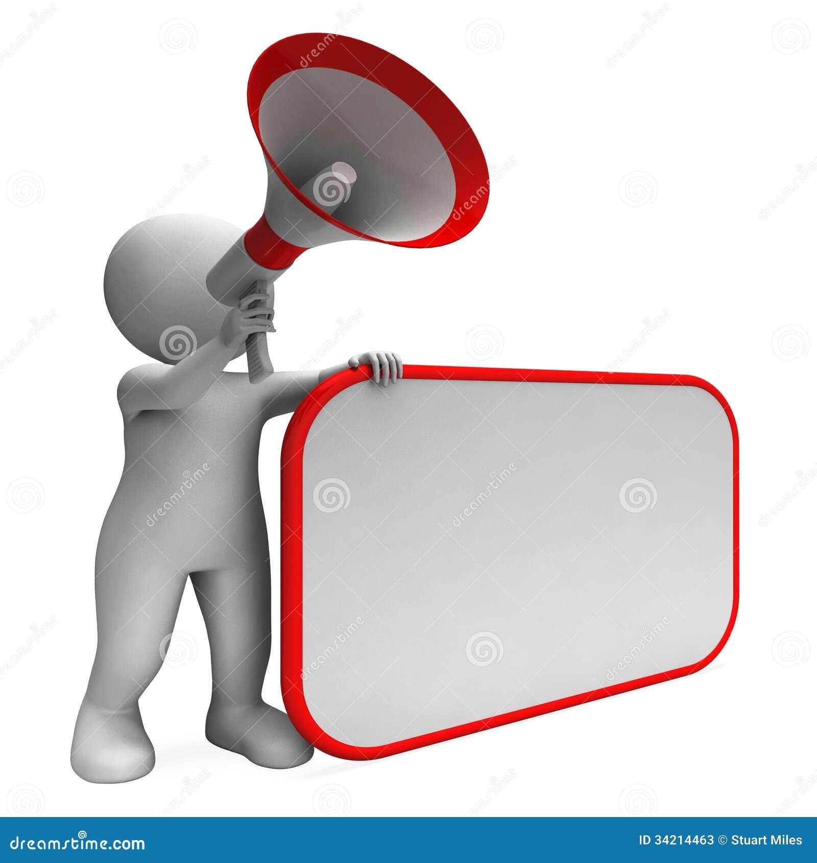 大声的Hailer和空白的招贴展示拷贝空间消息或者Announ