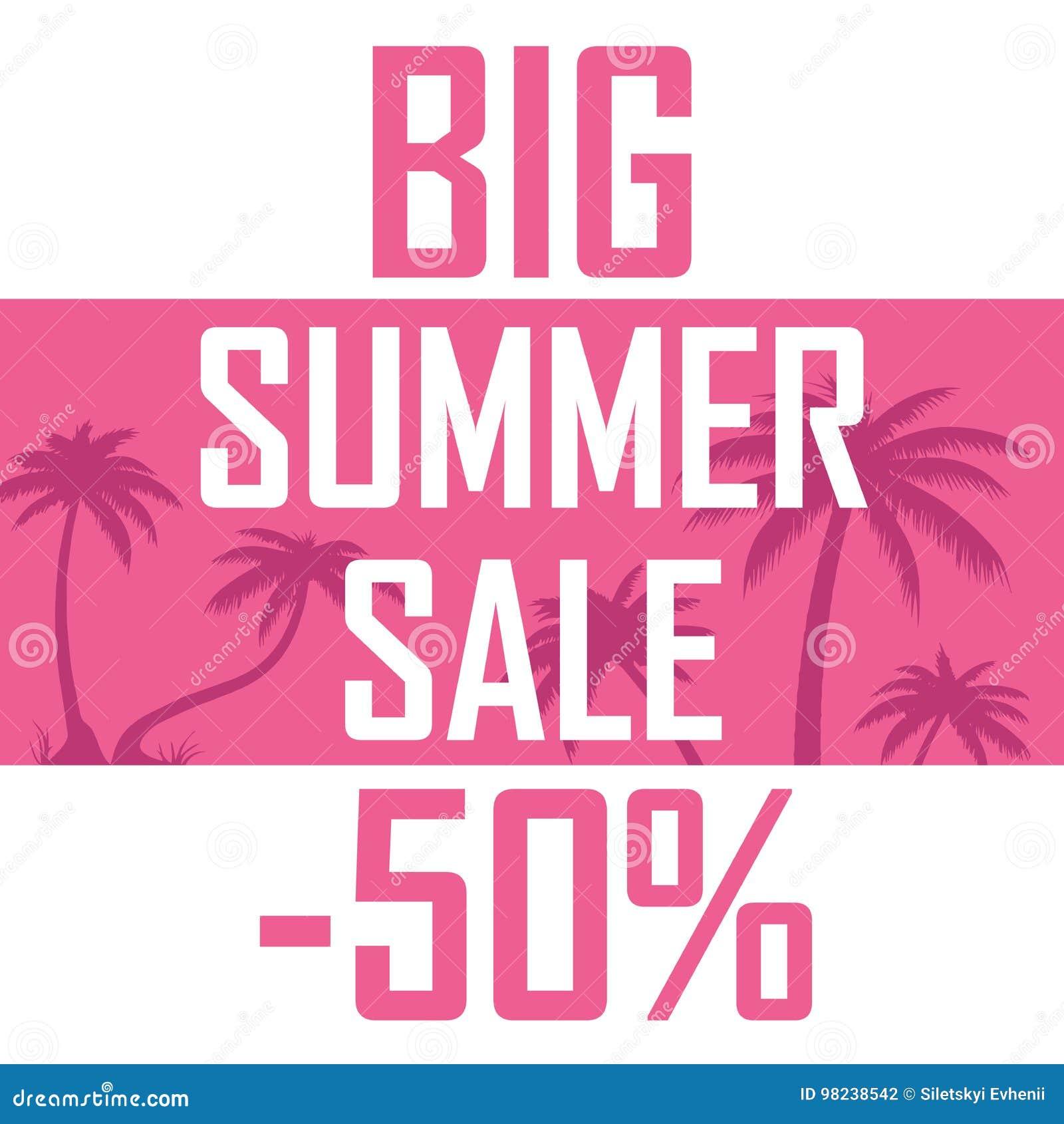 大夏天销售,在桃红色背景的棕榈与百分之五十折扣  便宜地,出售,提议