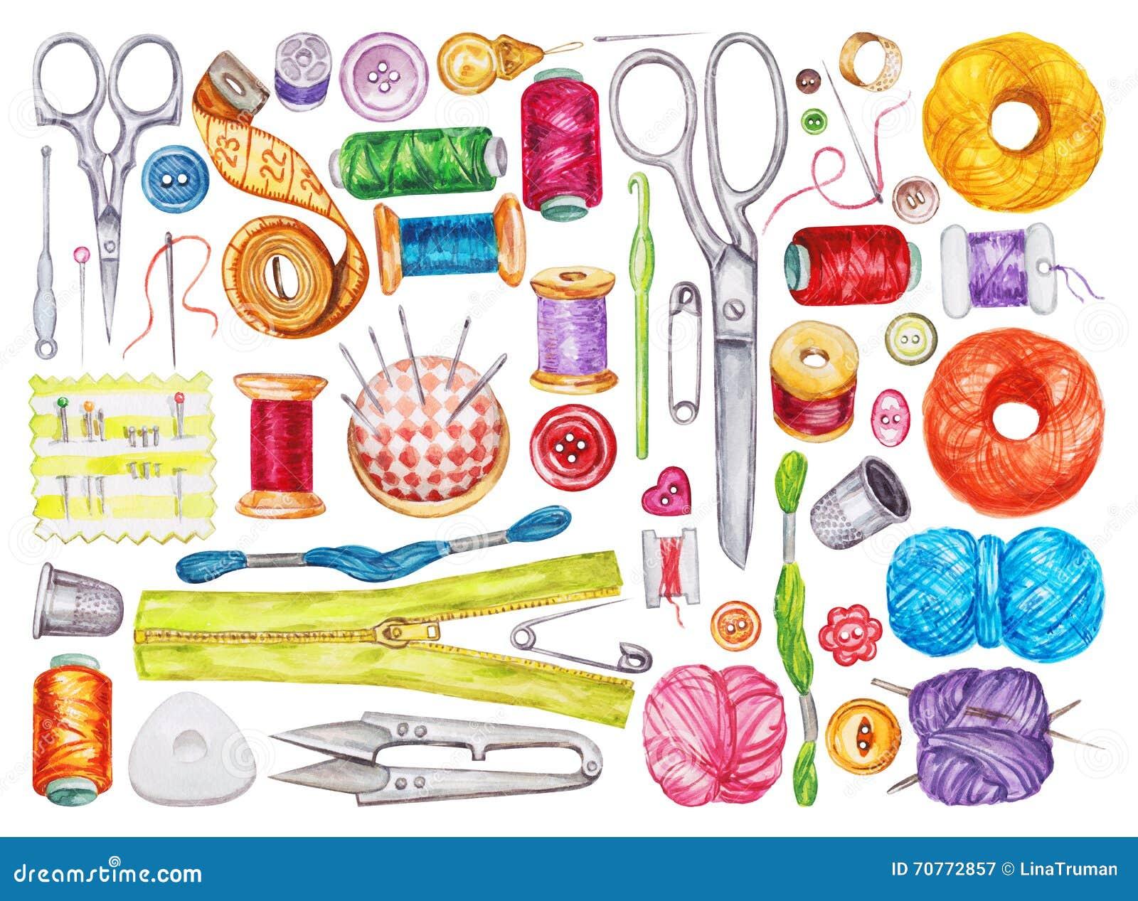 大套各种各样的水彩缝合的工具 棉花工具箱针缝合的顶针