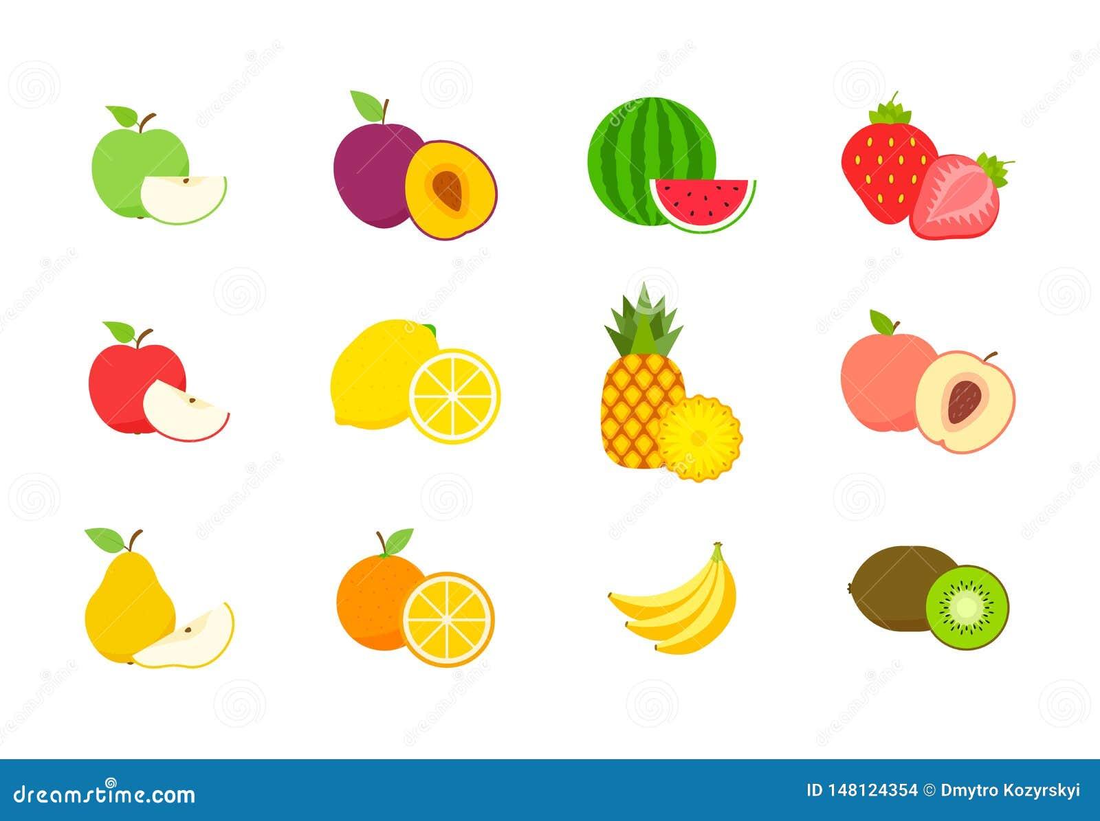 大套果子和莓果 夏天果子 果子苹果,梨,草莓,桔子,桃子,李子,香蕉,西瓜,菠萝,