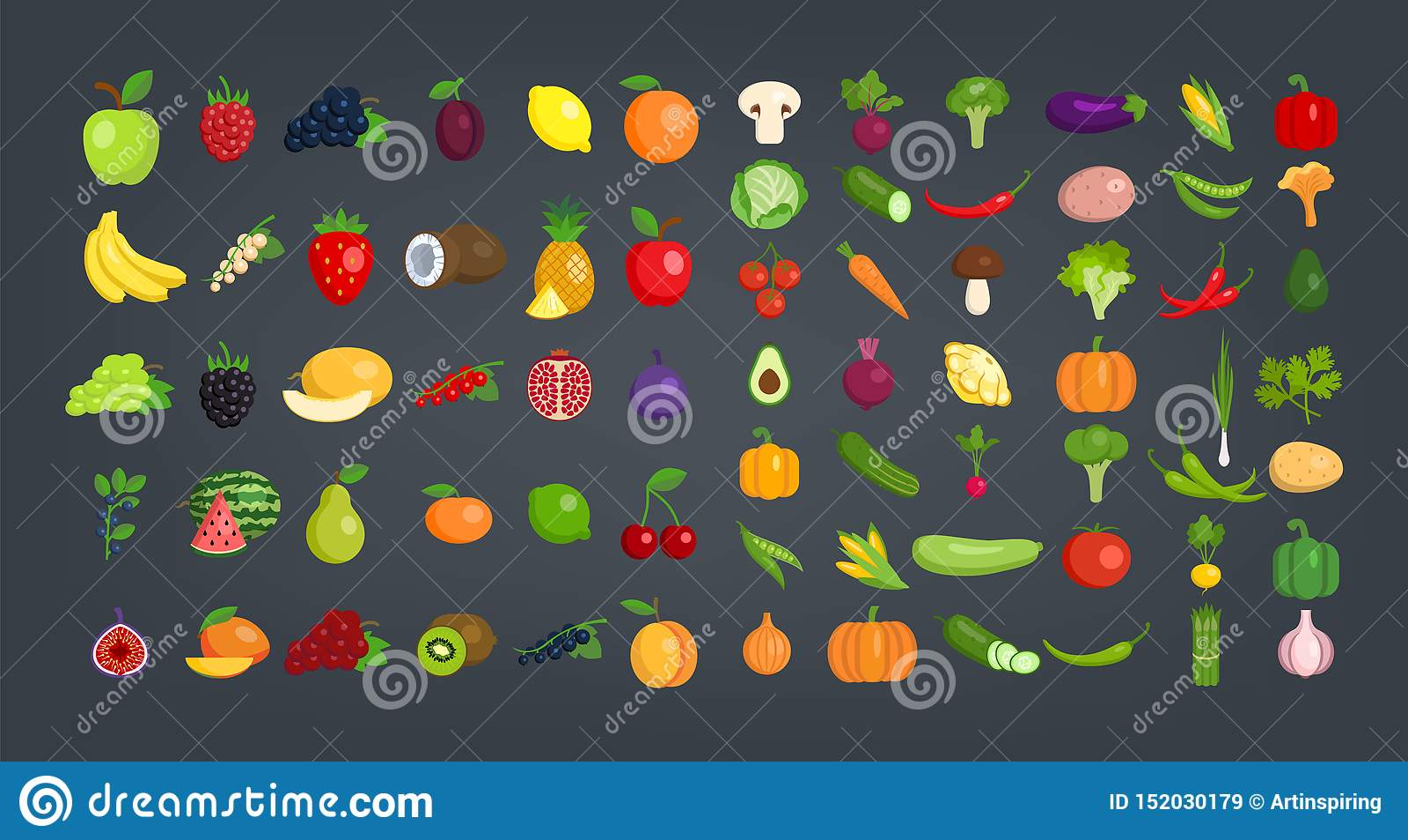 大套水果和蔬菜