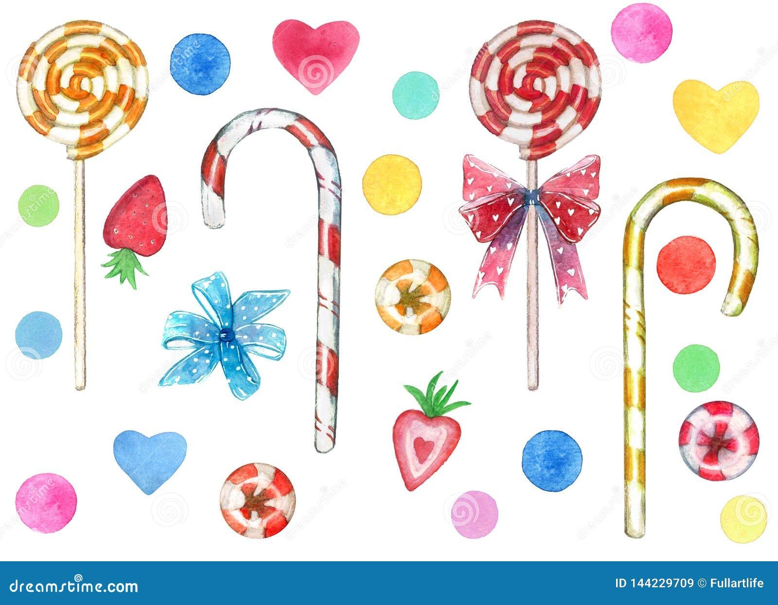 大套甜点元素由红色和黄色漩涡棒棒糖吮吸者忠心于制成弓和心脏